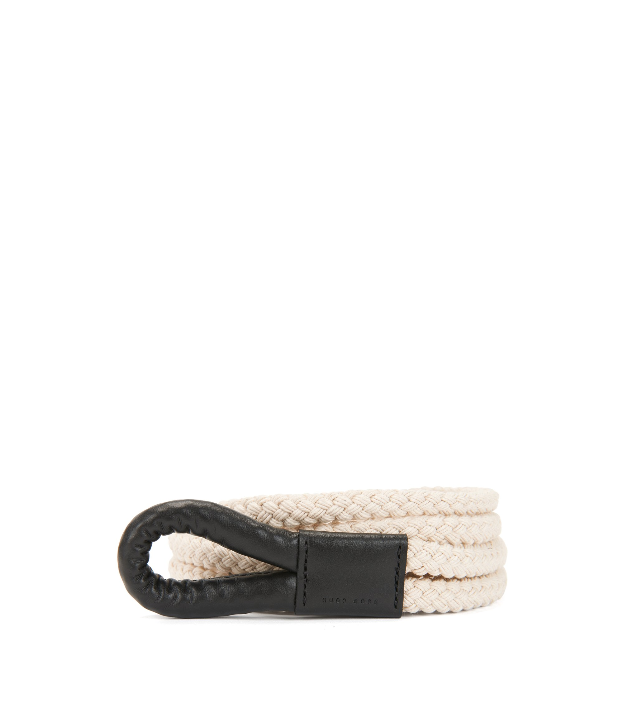 Rope belt in cotton and leather, Black