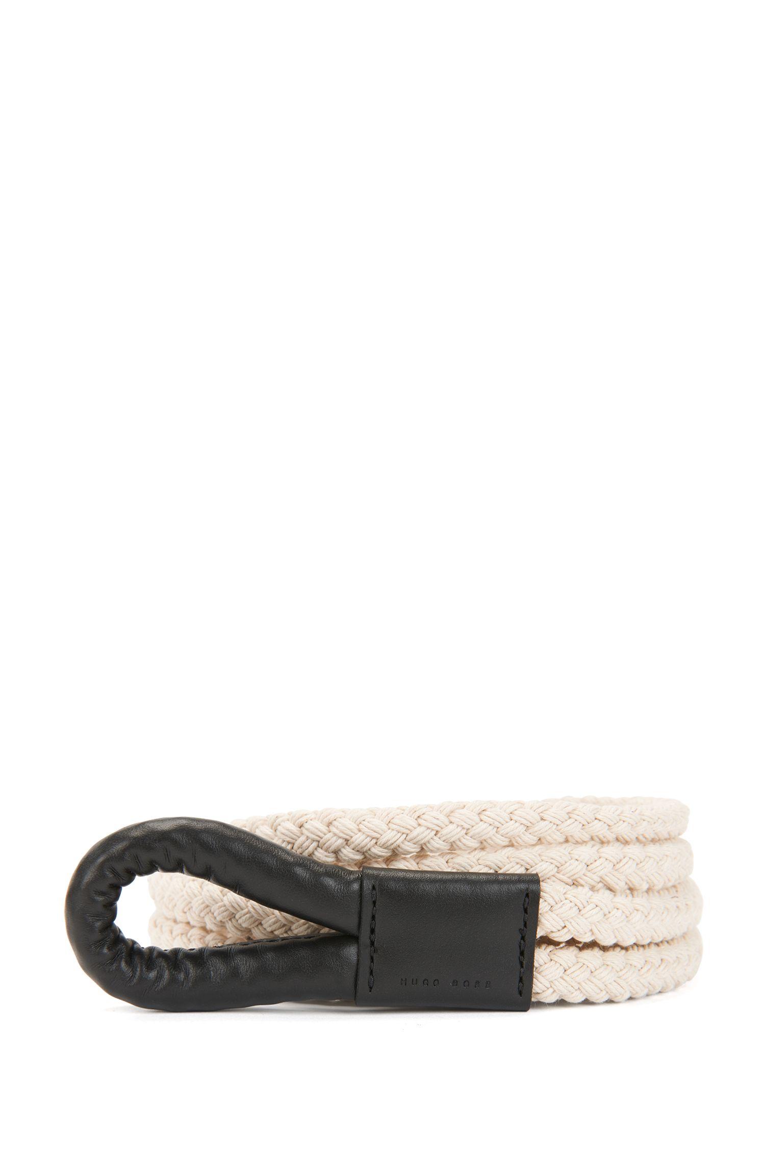 Cinturón de cuerda en algodón y piel