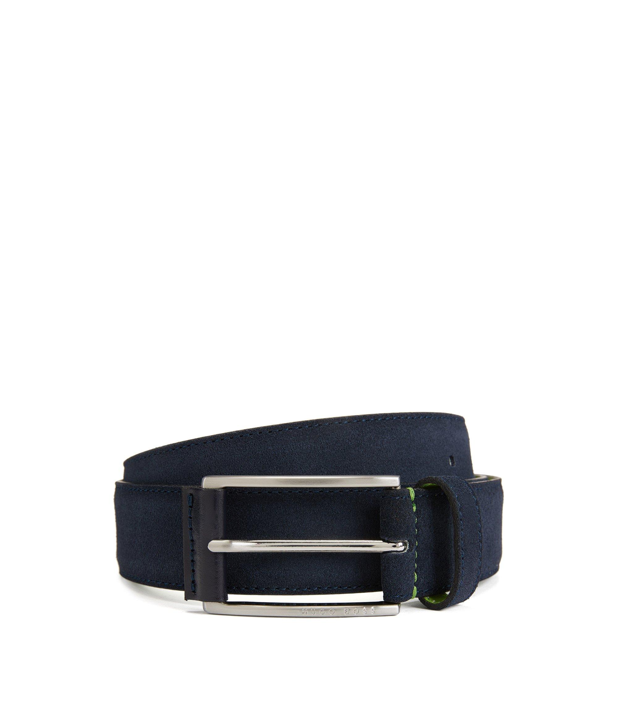 Cintura in pelle scamosciata con fibbia con dettaglio in pelle, Blu scuro