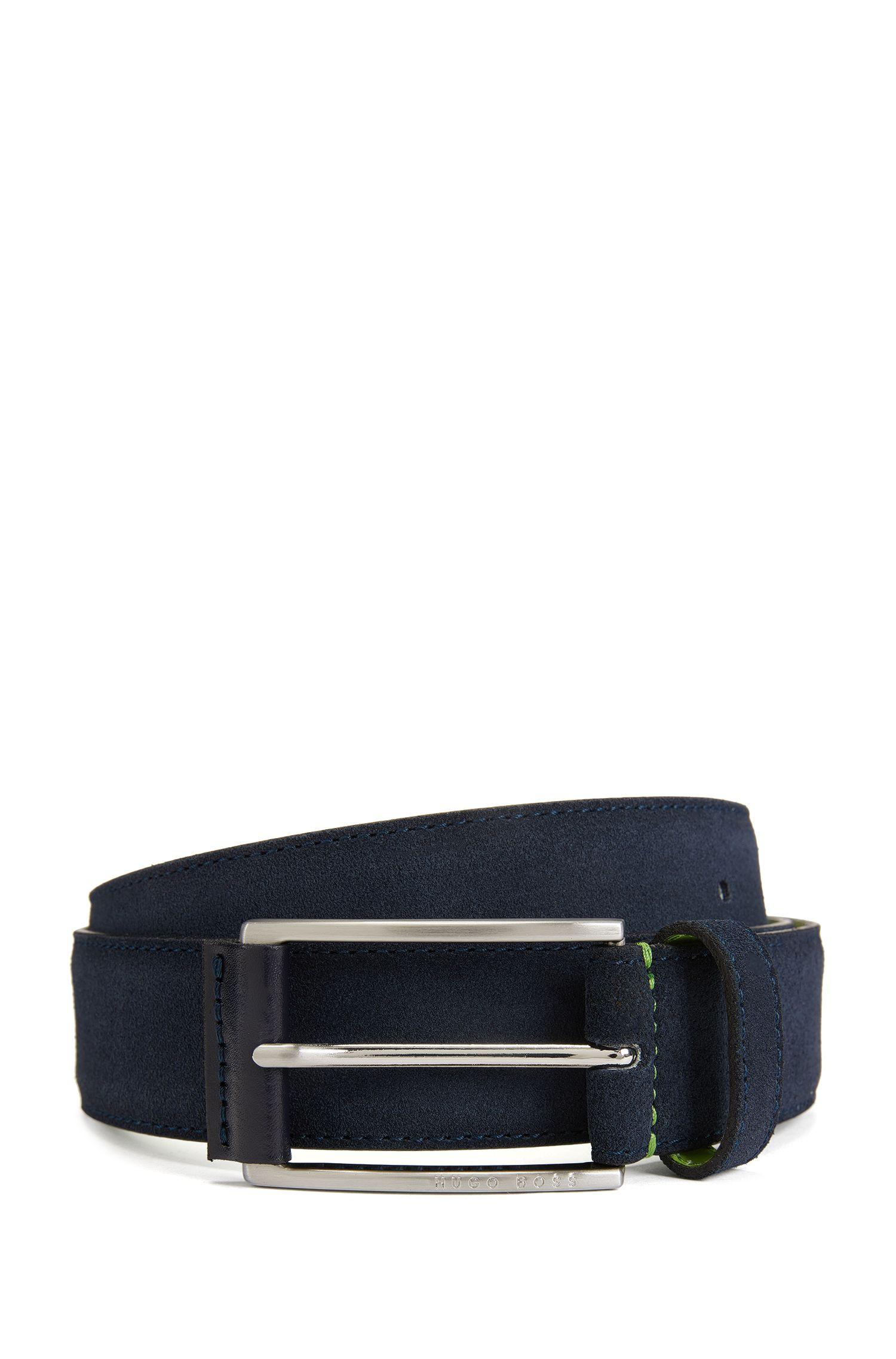 Cinturón de ante con hebilla con detalle de piel