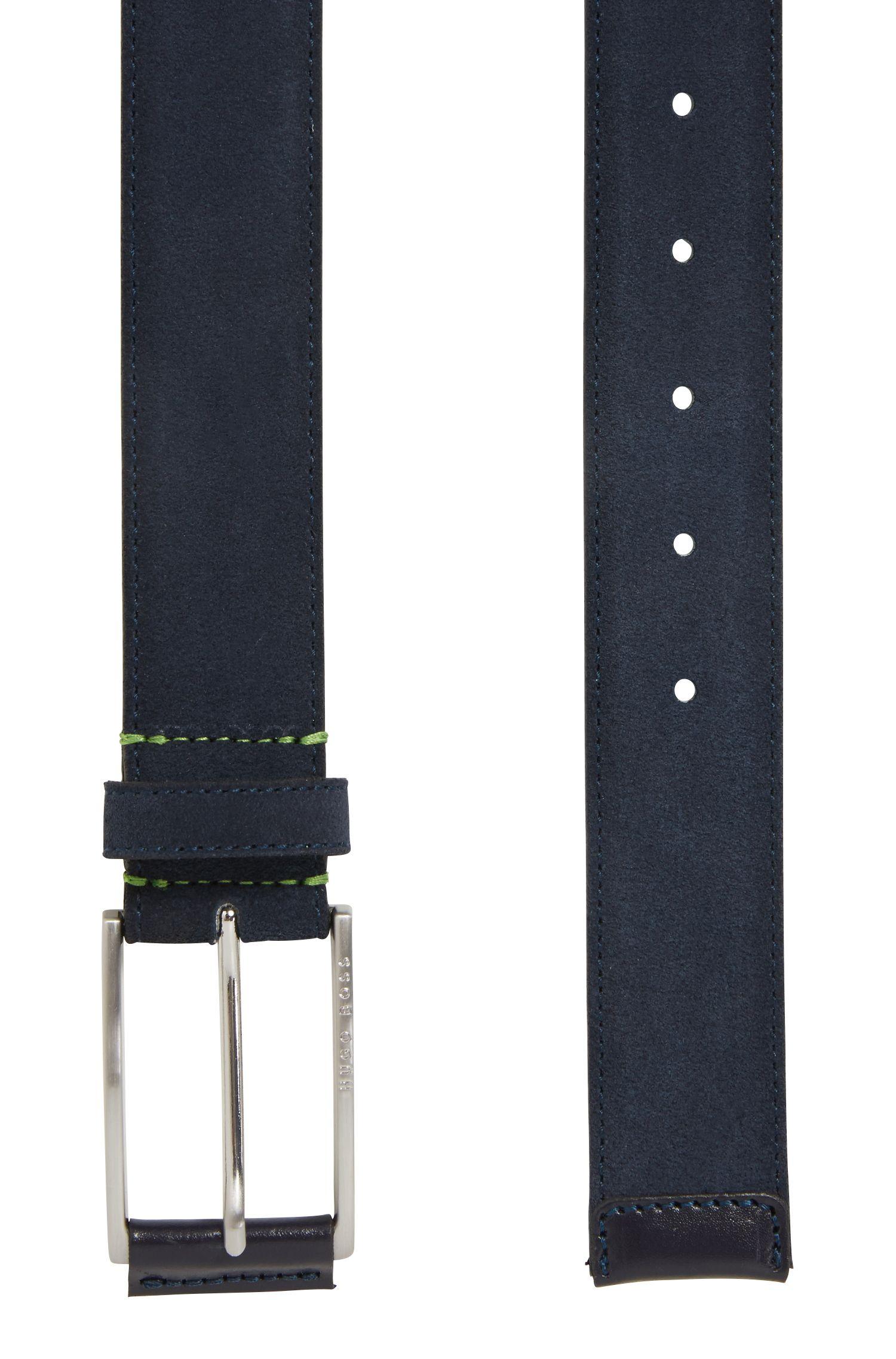 Cintura in pelle scamosciata con fibbia con dettaglio in pelle