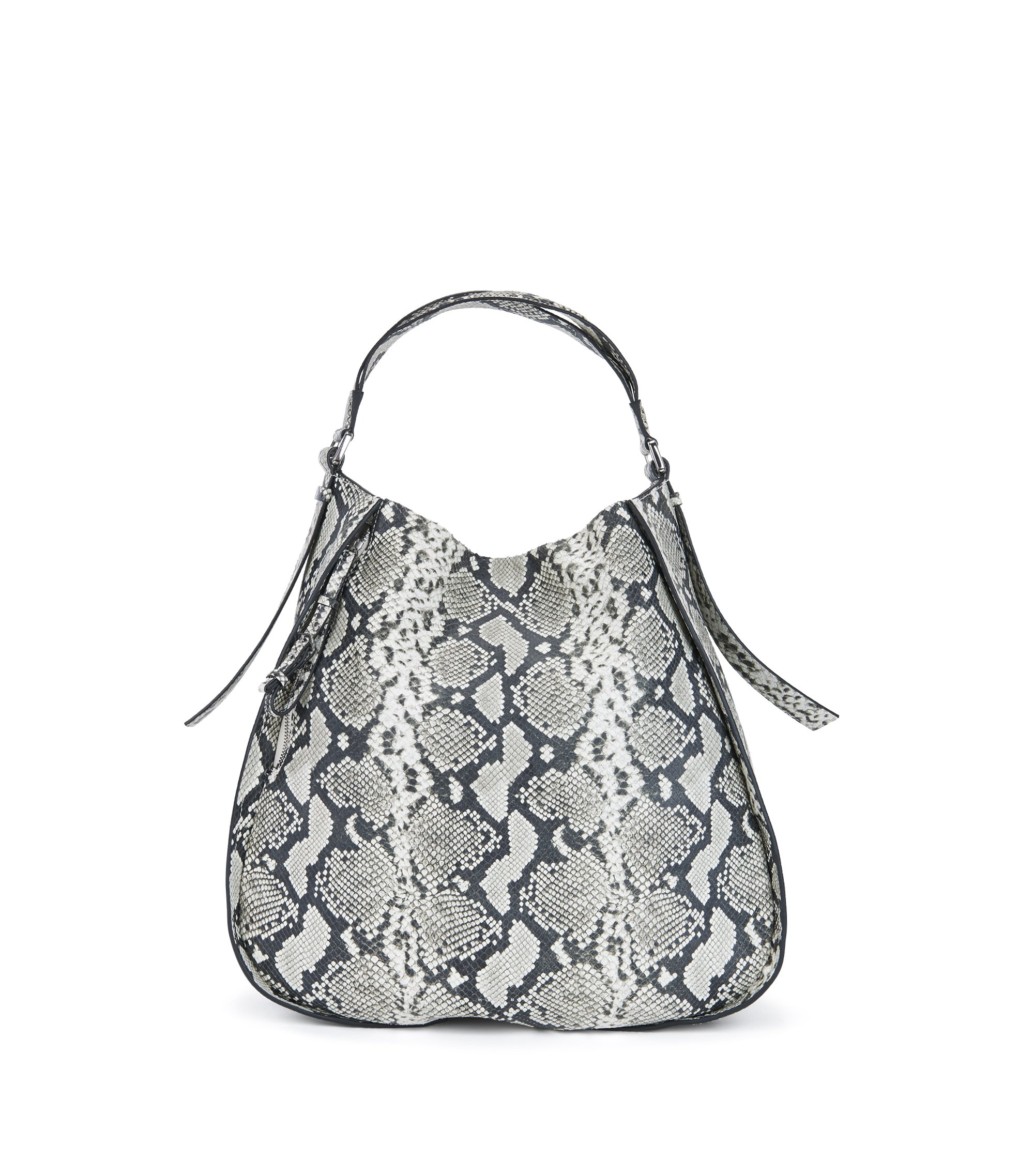 Python-printed hobo bag in Italian leather, Patterned