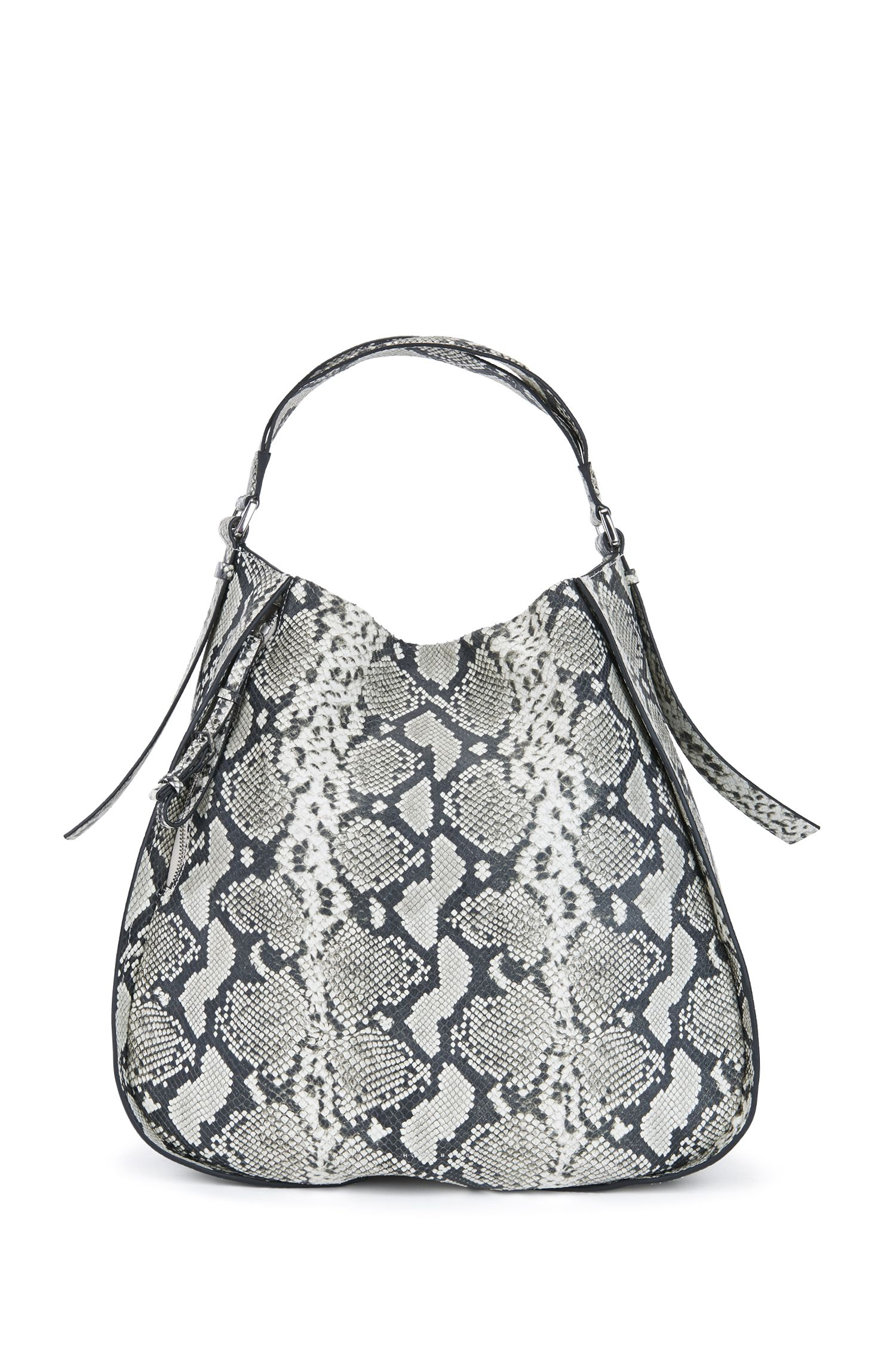 Python-printed hobo bag in Italian leather