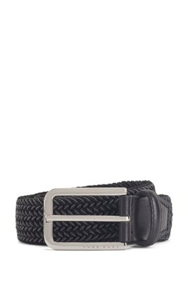 Woven belt with polished metal hardware, Black