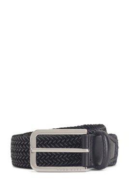 Cintura intrecciata con dettagli in metallo lucido, Nero