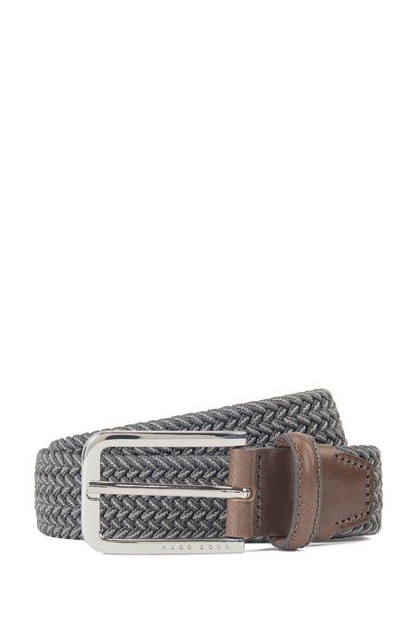 Woven belt with polished metal hardware, Dark Grey