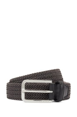 Woven belt with polished metal hardware, Grey