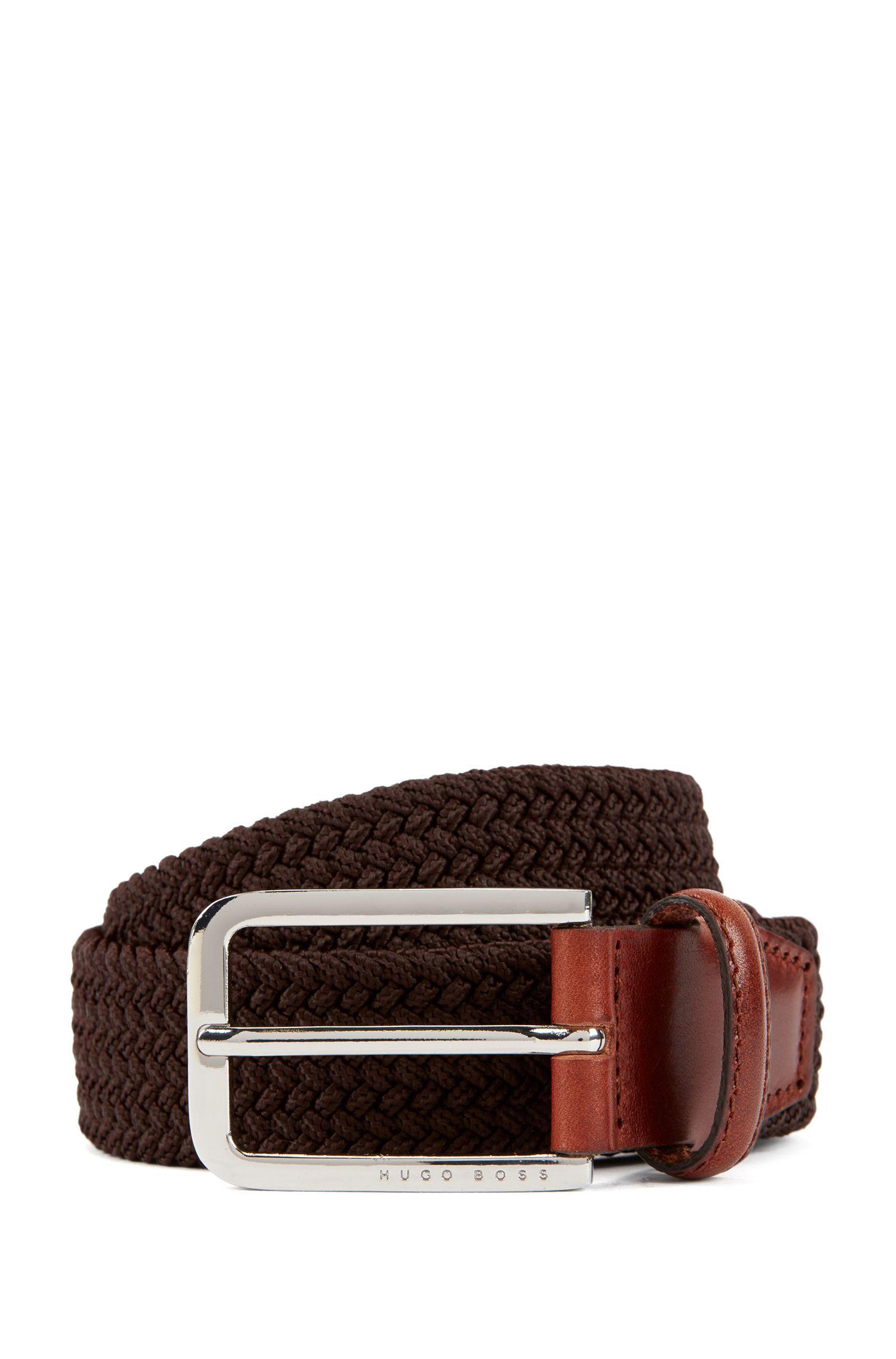 Cinturón tejido con herrajes de metal pulido, Marrón oscuro