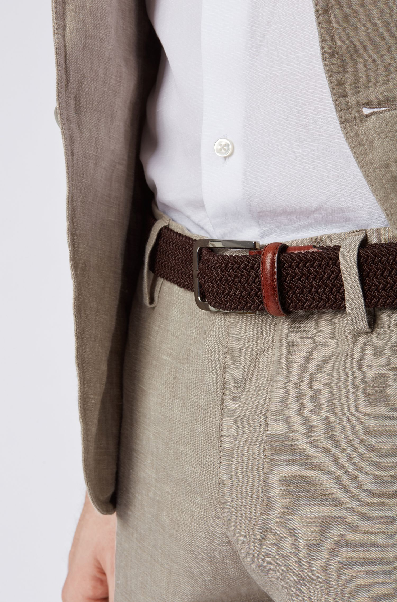 Woven belt with polished metal hardware, Dark Brown
