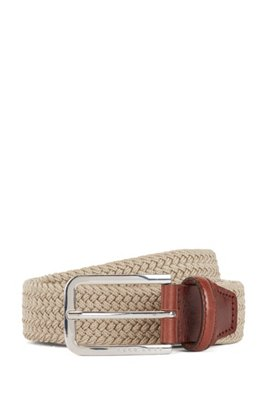 Woven-elastic belt with leather trims, Light Beige
