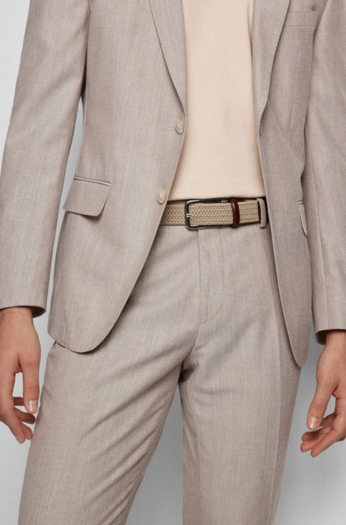 Woven belt with polished metal hardware