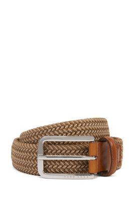 Woven belt with polished metal hardware, Light Beige