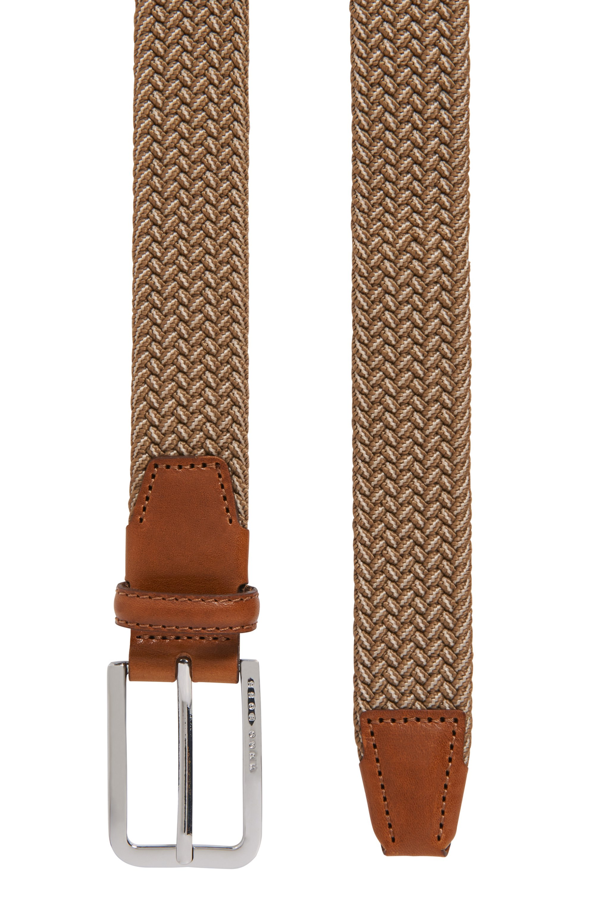 Woven-elastic belt with leather trims