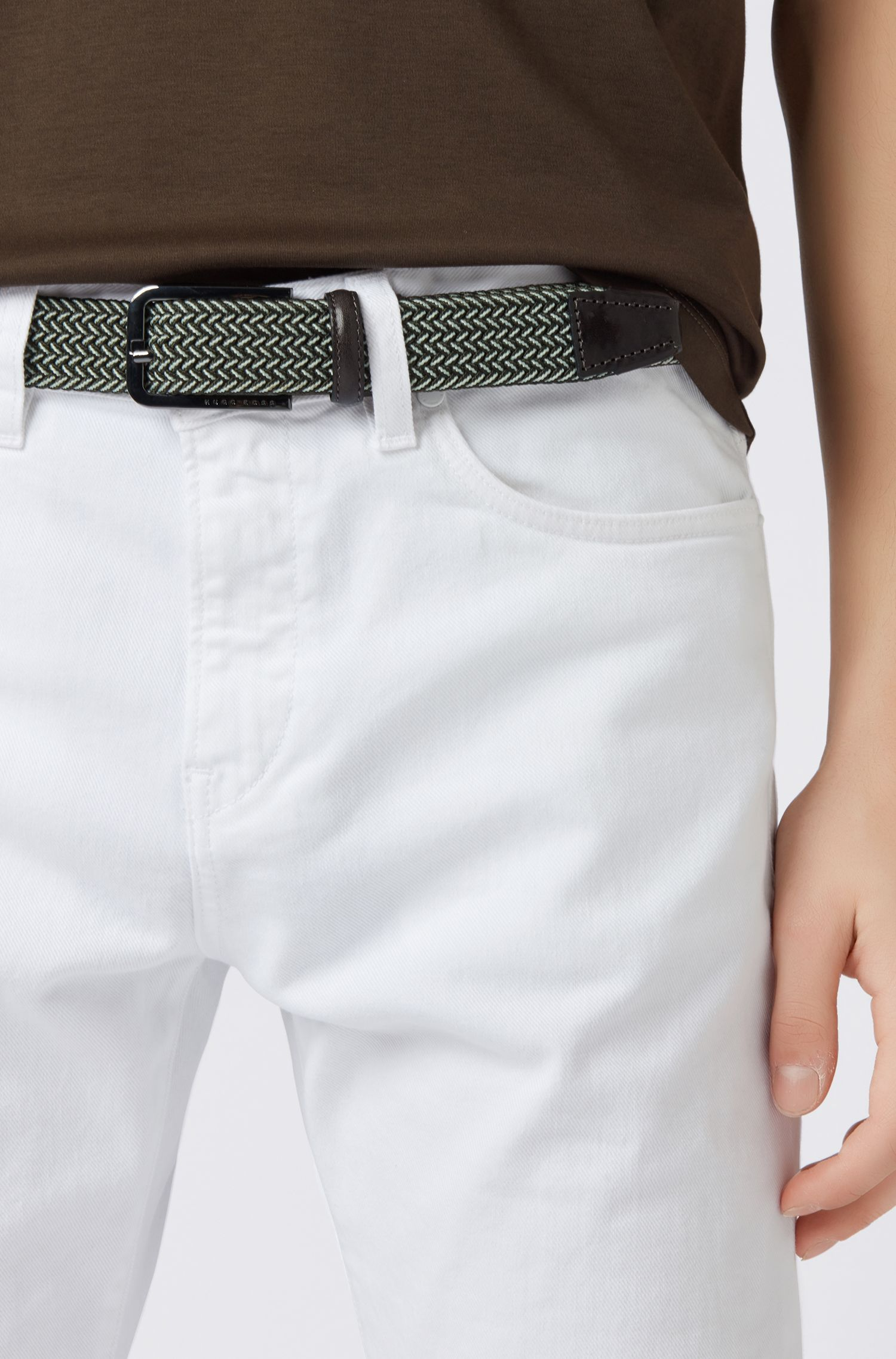 Woven belt with polished metal hardware, Open Green