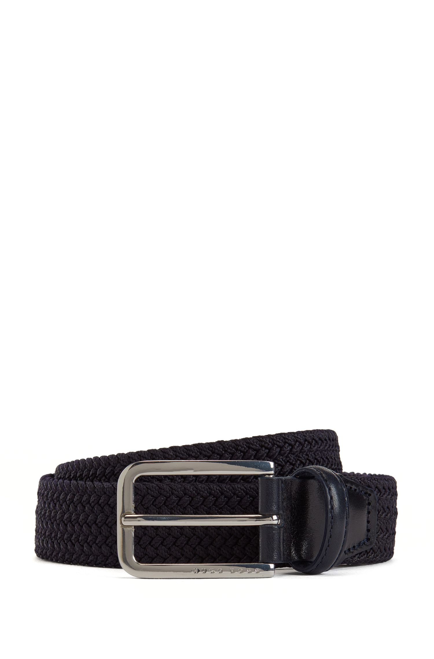 Woven belt with polished metal hardware, Dark Blue