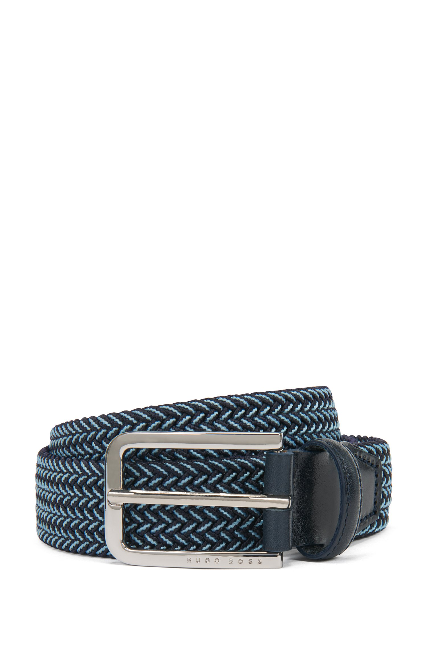 Woven-elastic belt with leather trims, Dark Blue