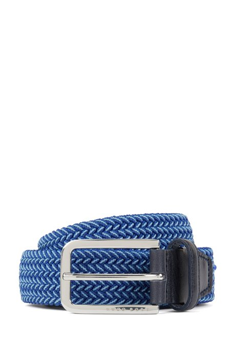 Cintura intrecciata con dettagli in metallo lucido, Blu