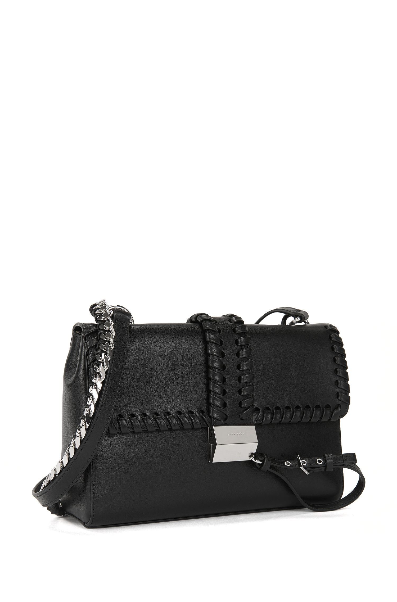 Woven-detail leather shoulder bag with lock closure