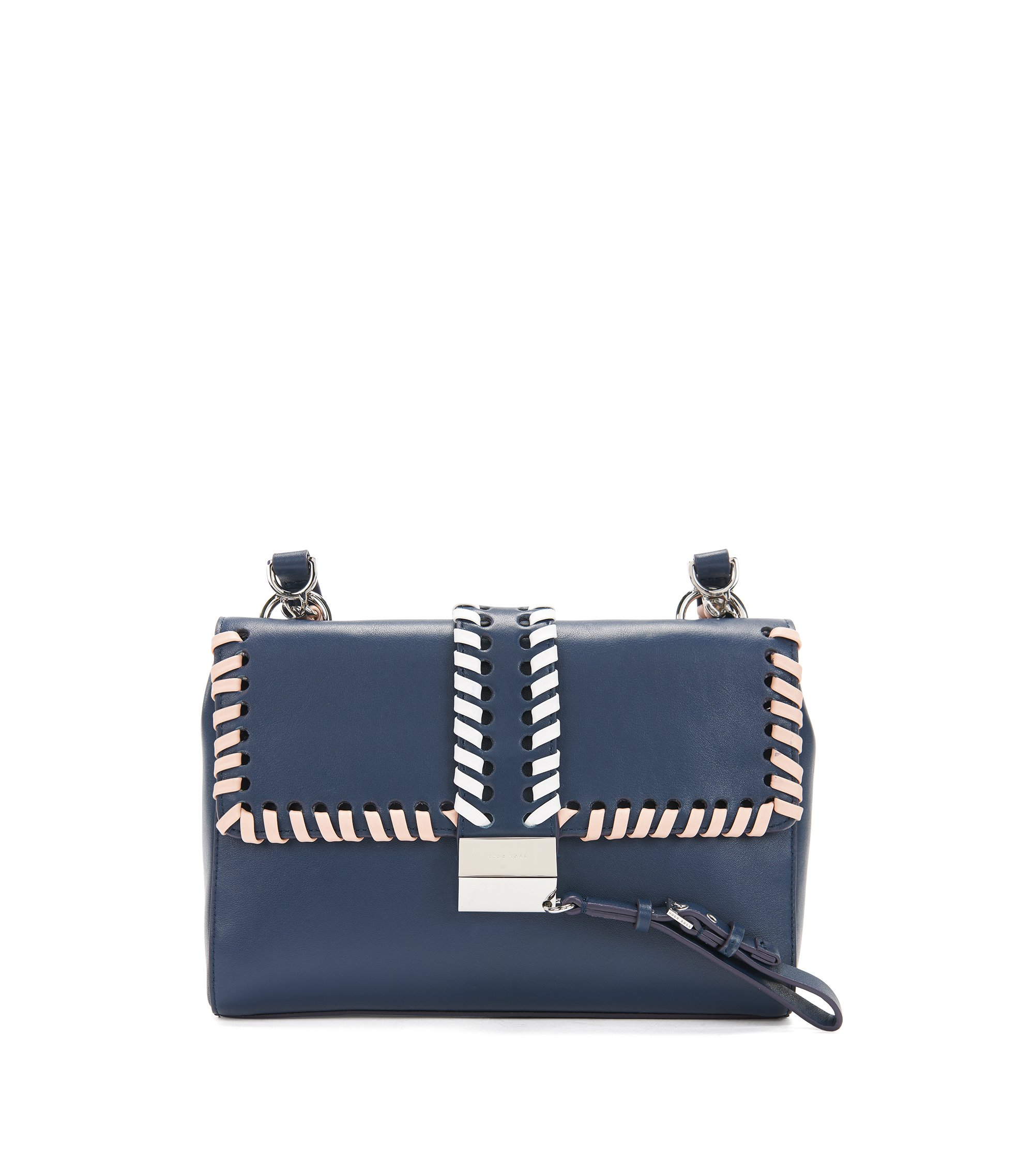 Woven-detail leather shoulder bag with lock closure, Blue