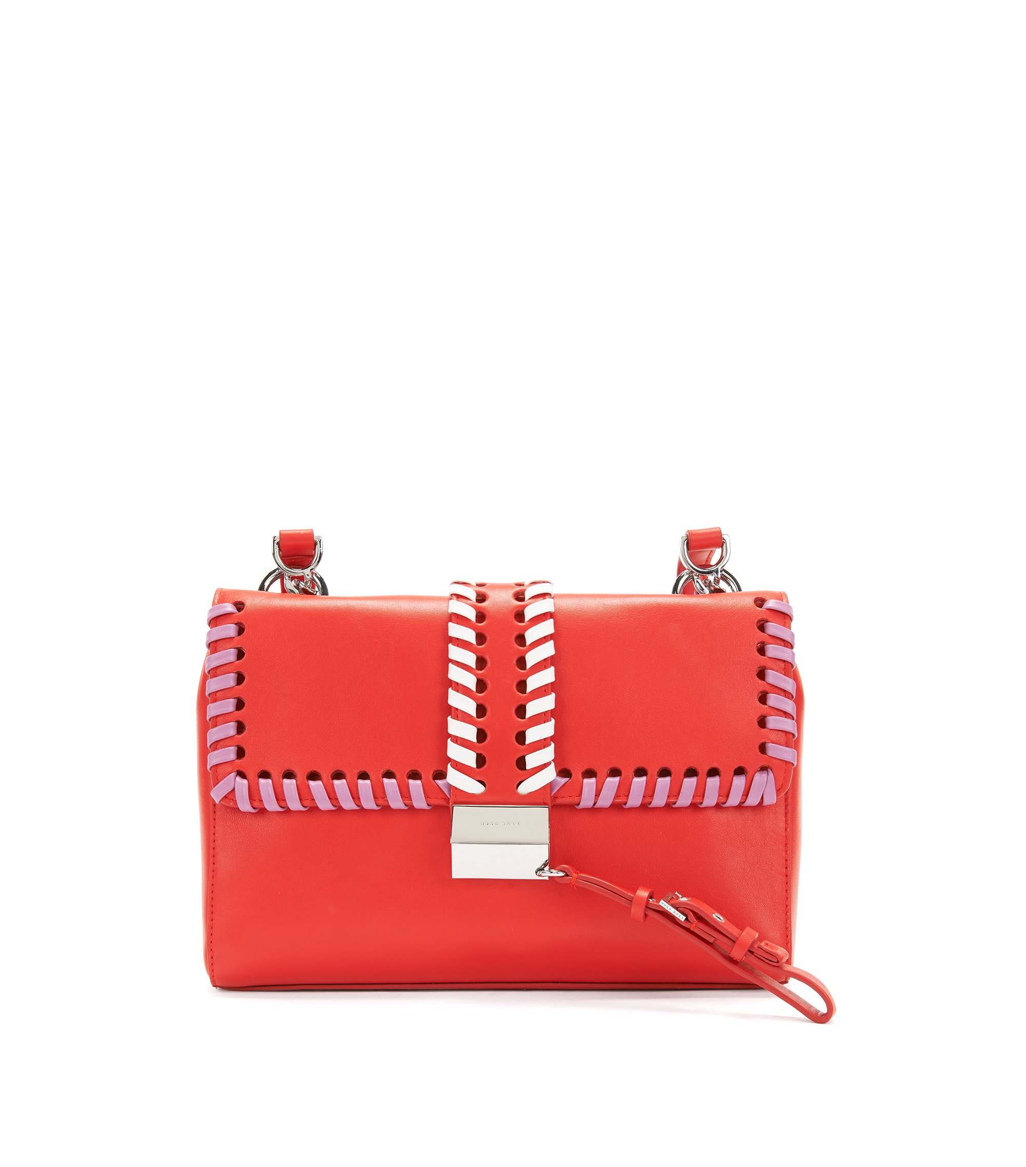 Woven-detail leather shoulder bag with lock closure, Red