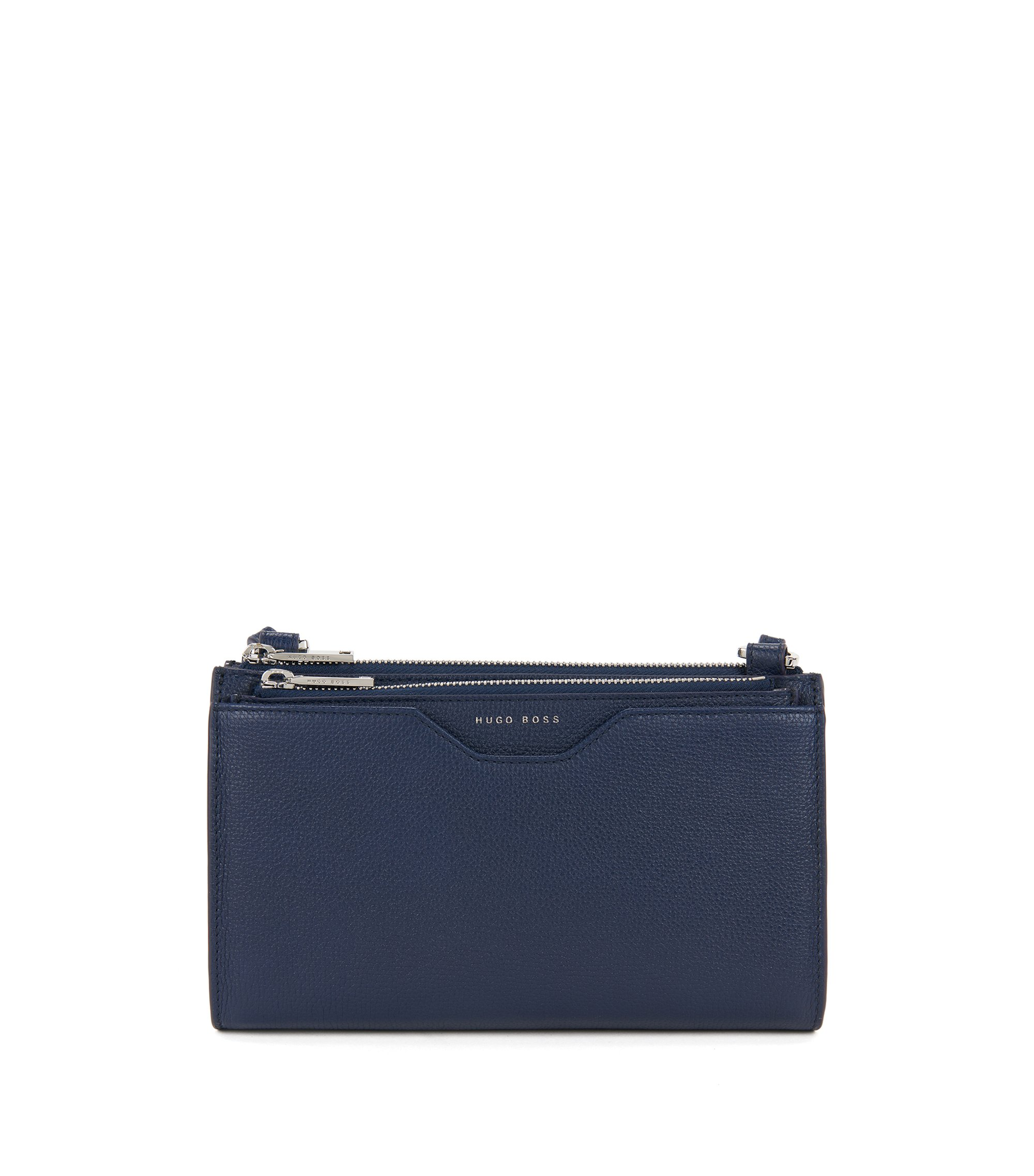 Mini bag in grained Italian leather, Blue