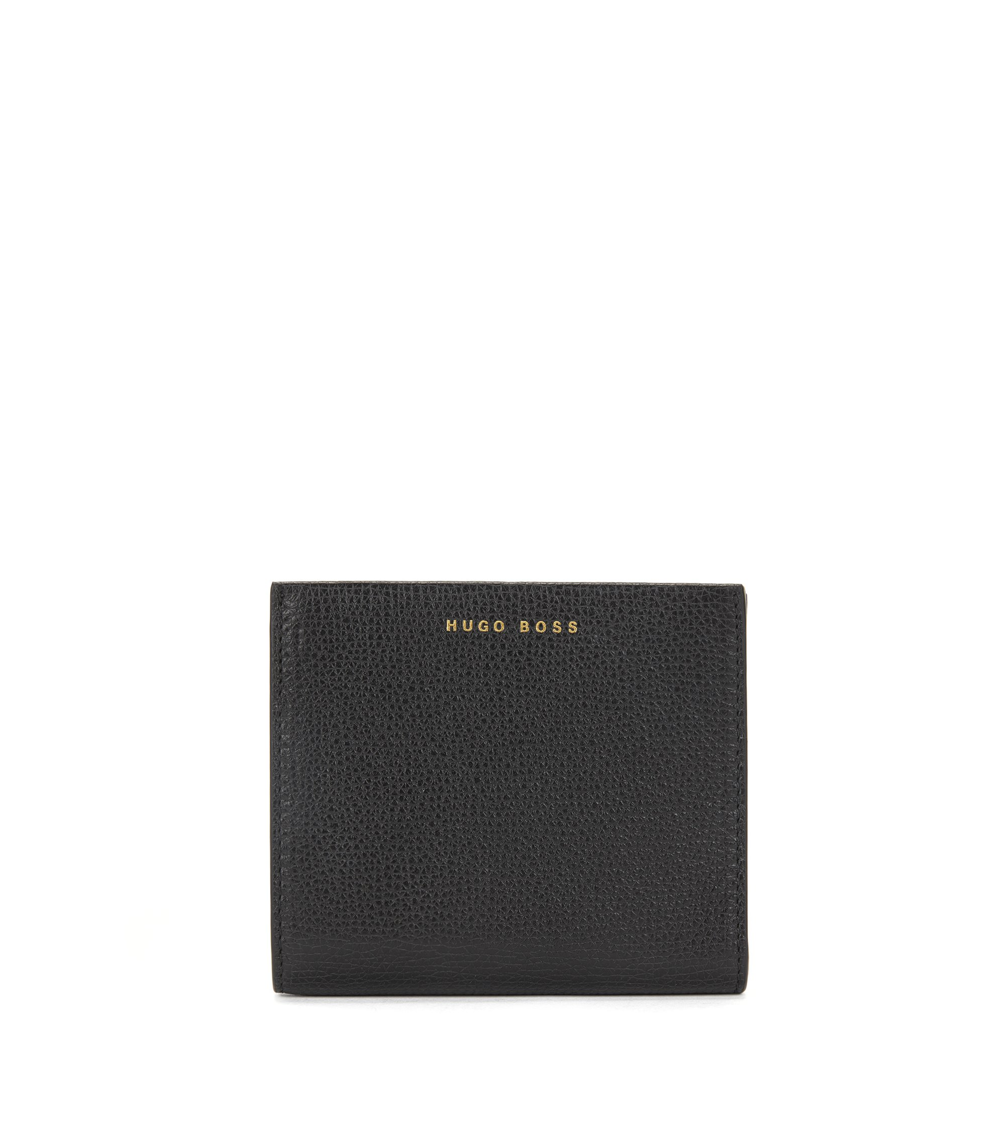 Small ziparound wallet in grained Italian leather, Black