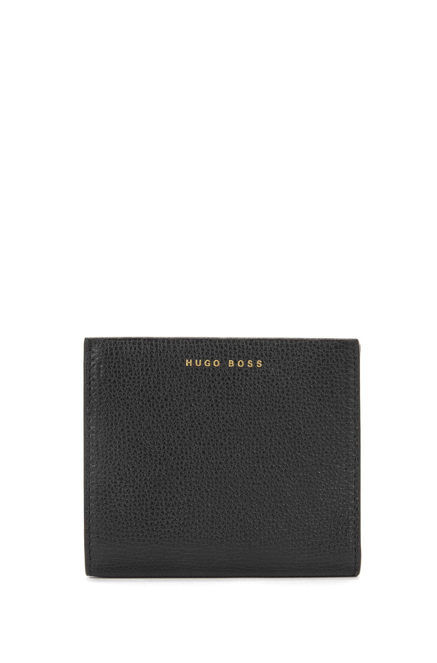 Kleine Geldbörse aus genarbtem italienischem Leder mit Reißverschluss, Schwarz