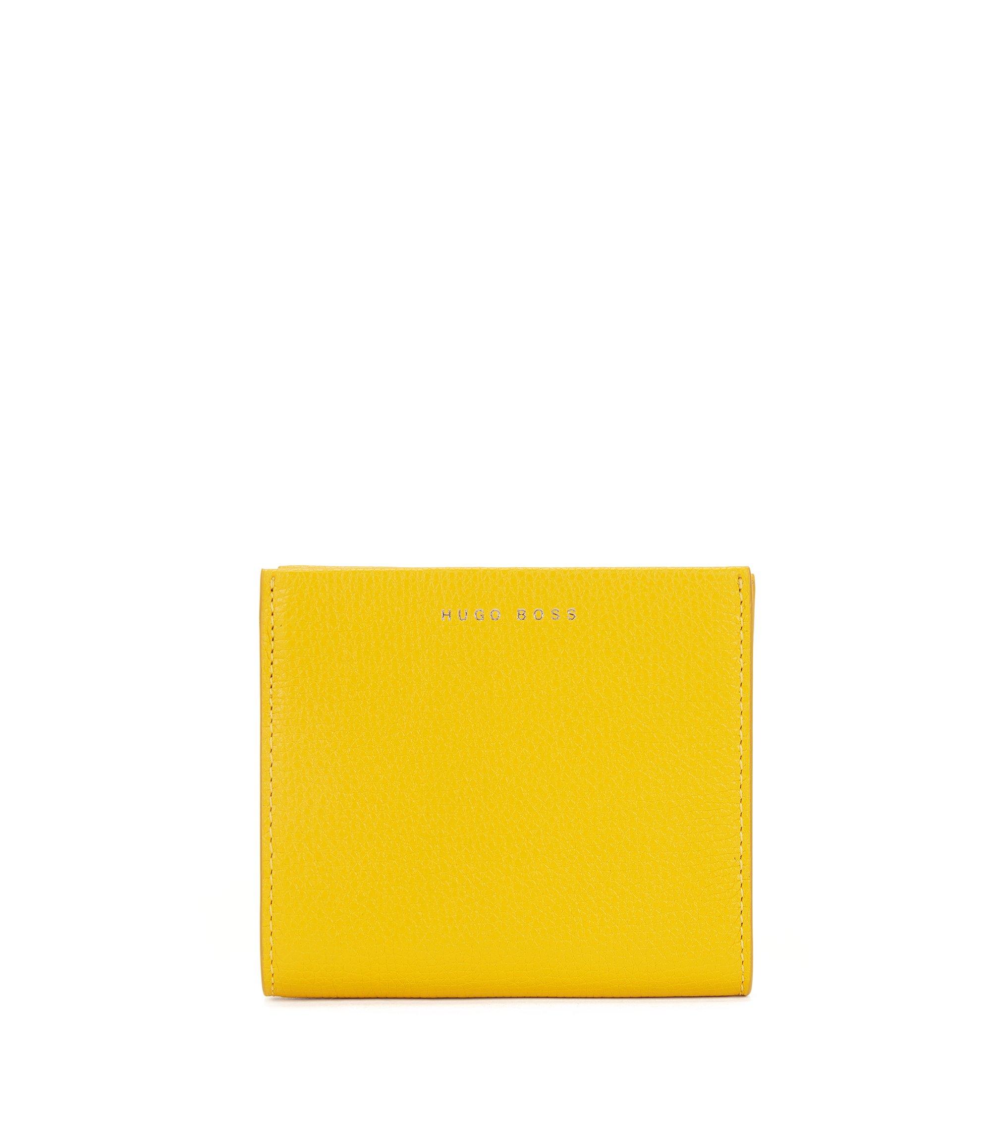 Petit portefeuille en cuir italien grainé, avec fermeture éclair circulaire, Jaune