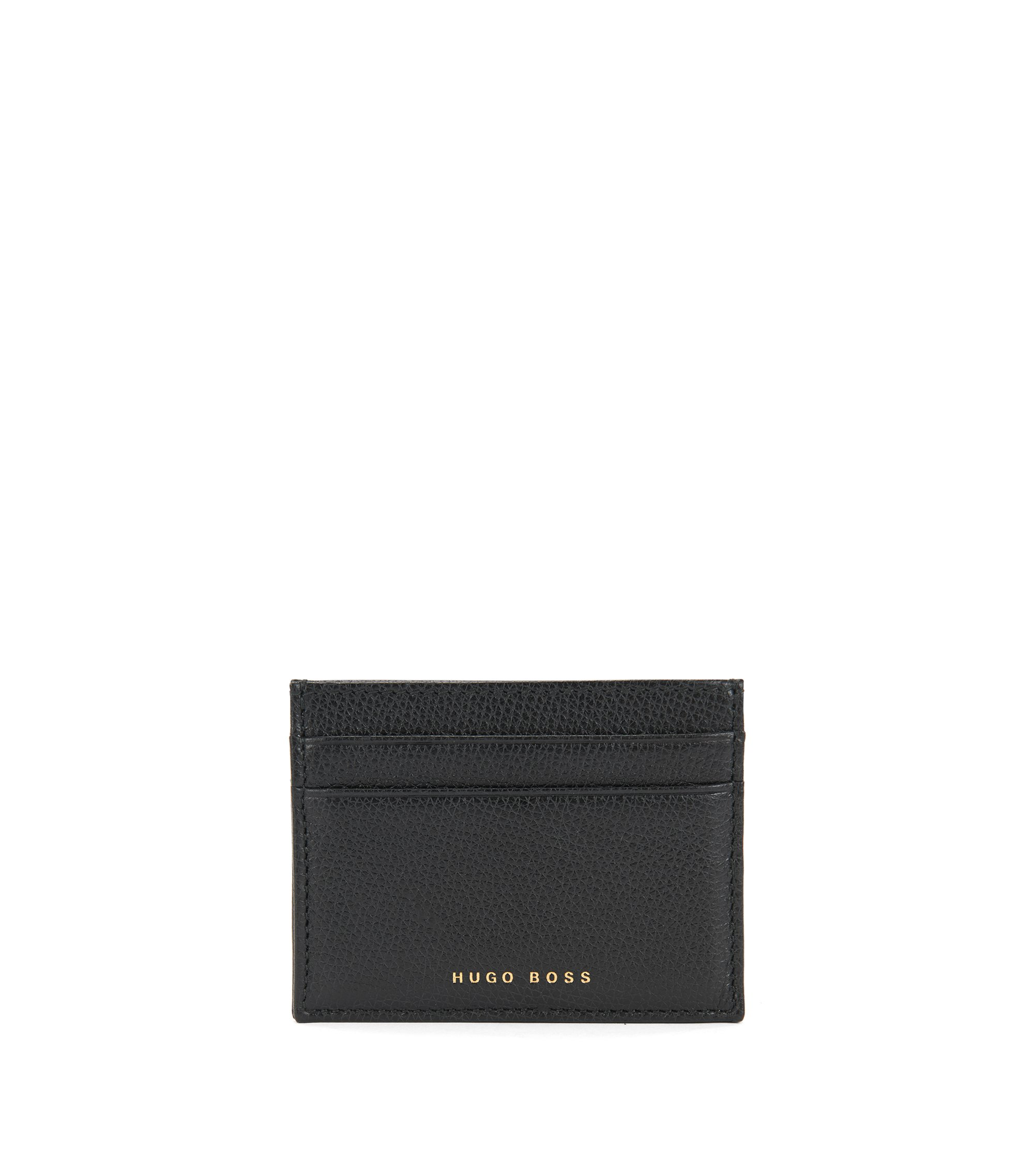Structured card holder in Italian leather, Black