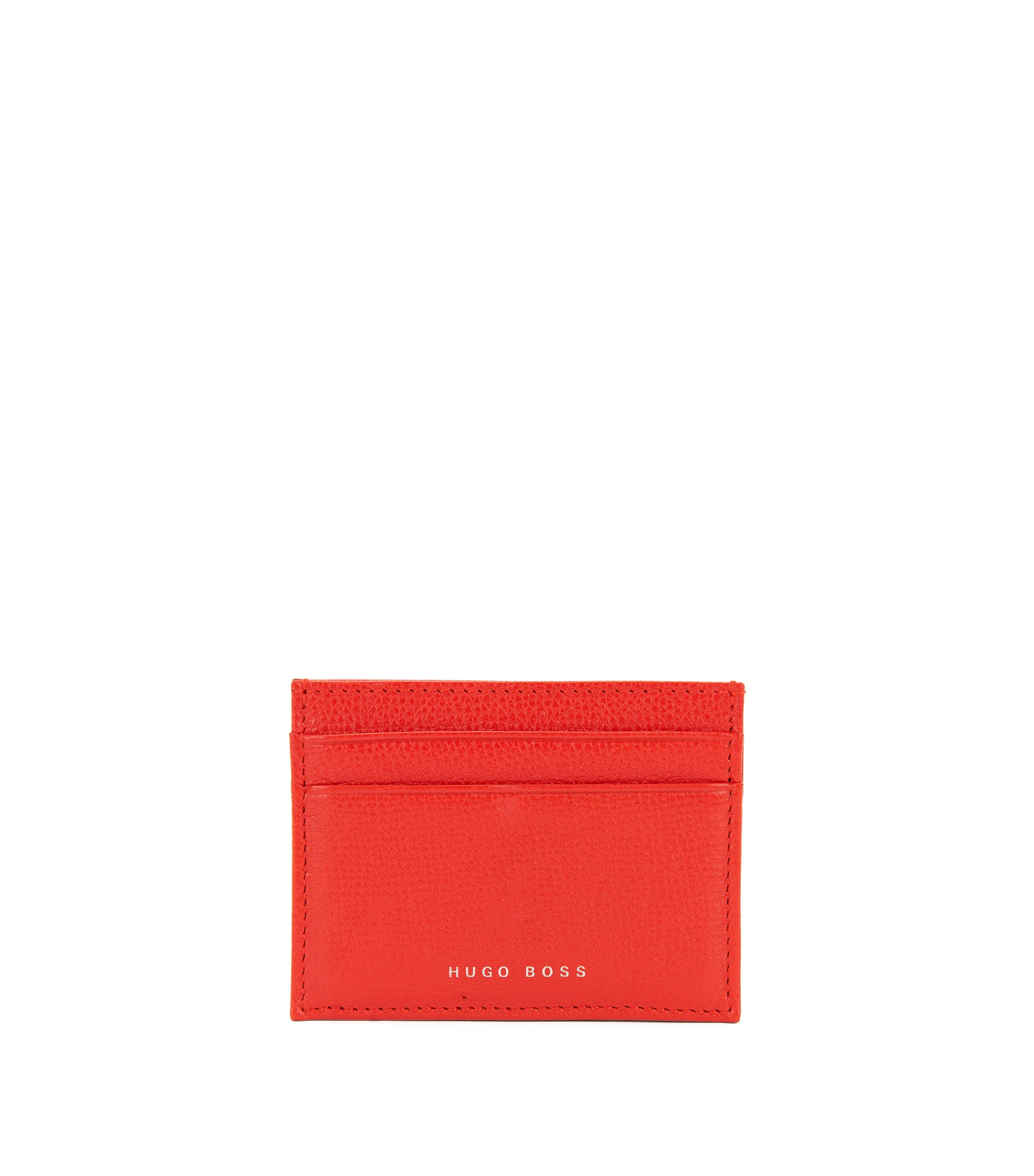 Structured card holder in Italian leather, Red