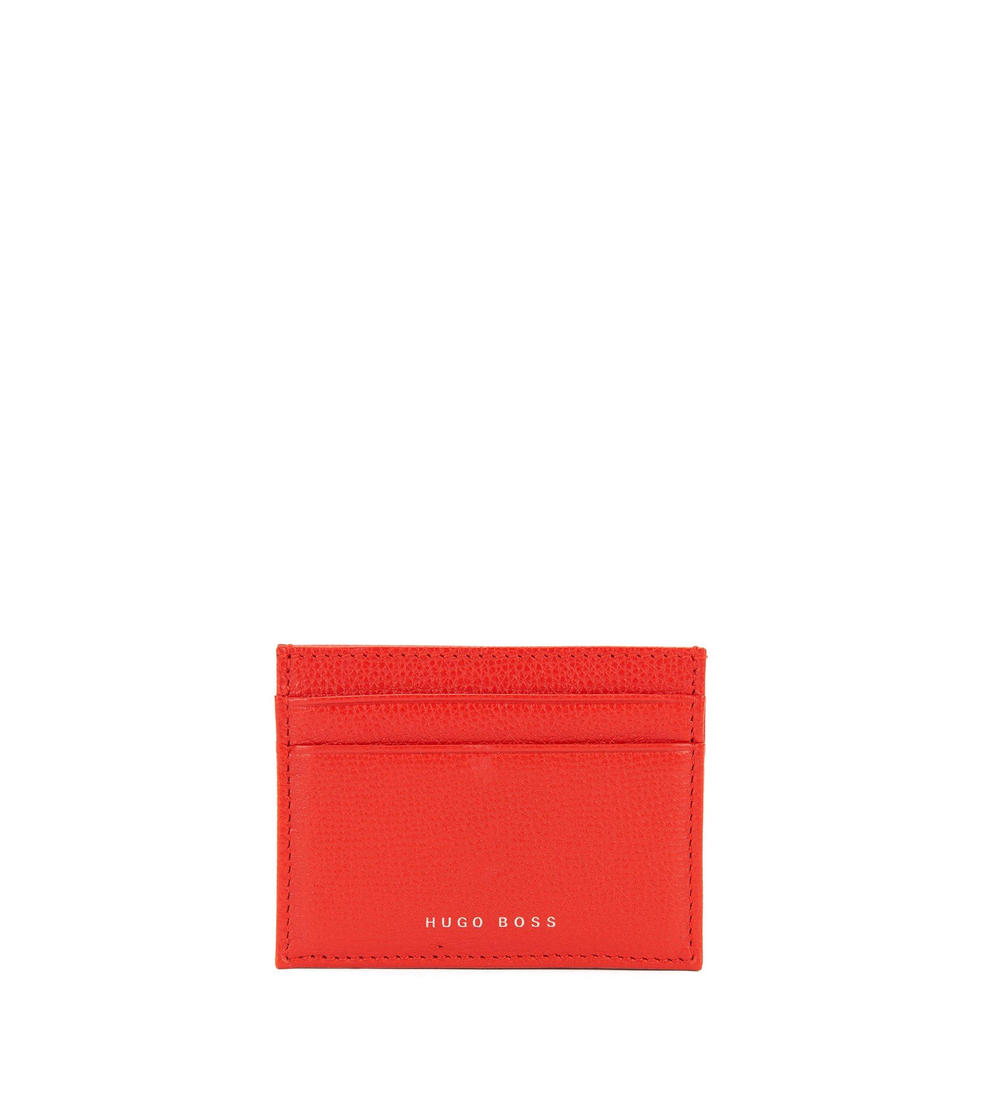 Kartenetui aus genarbtem italienischem Leder, Rot