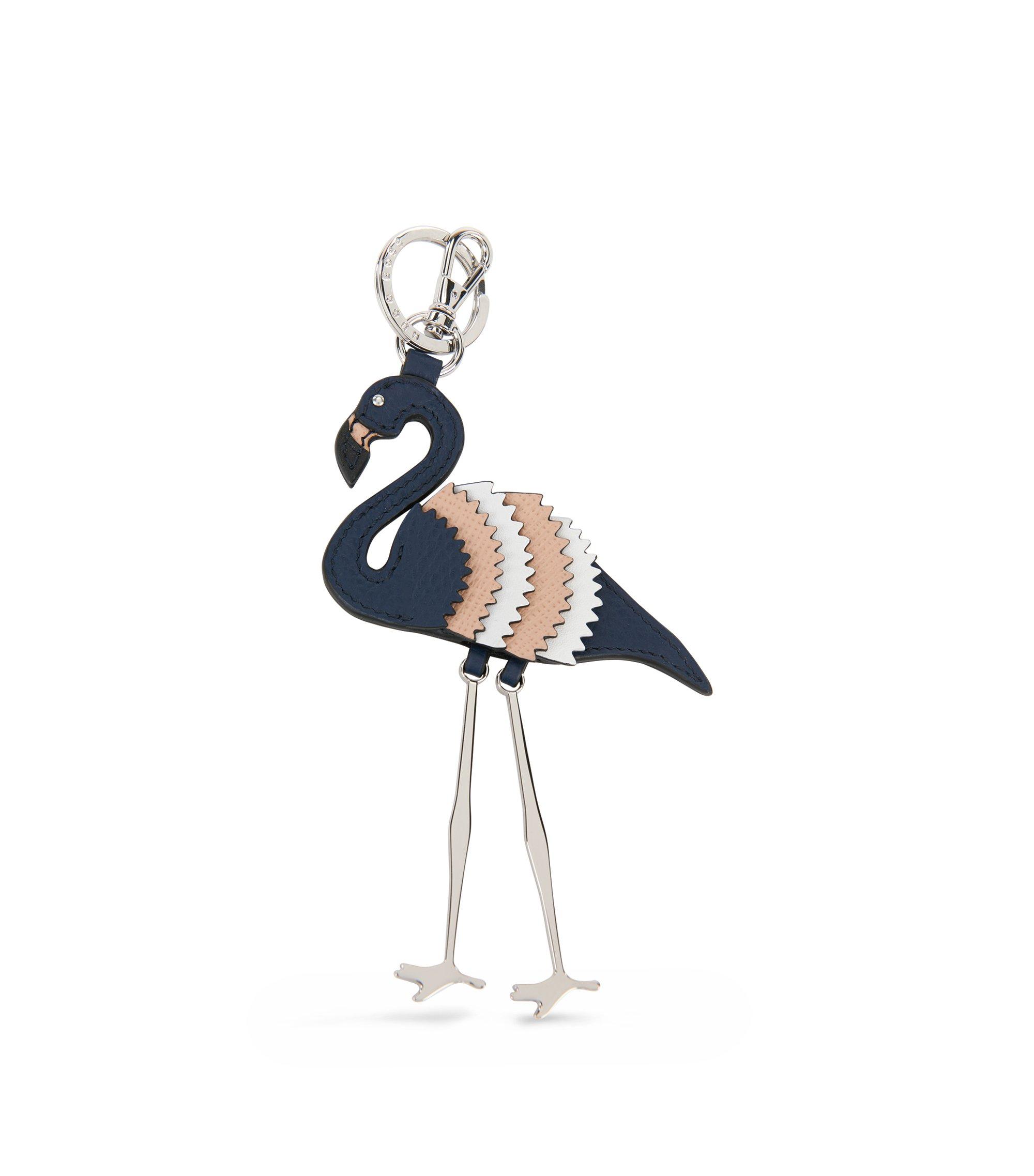 Schlüsselanhänger aus Leder im Flamingo-Design, Blau