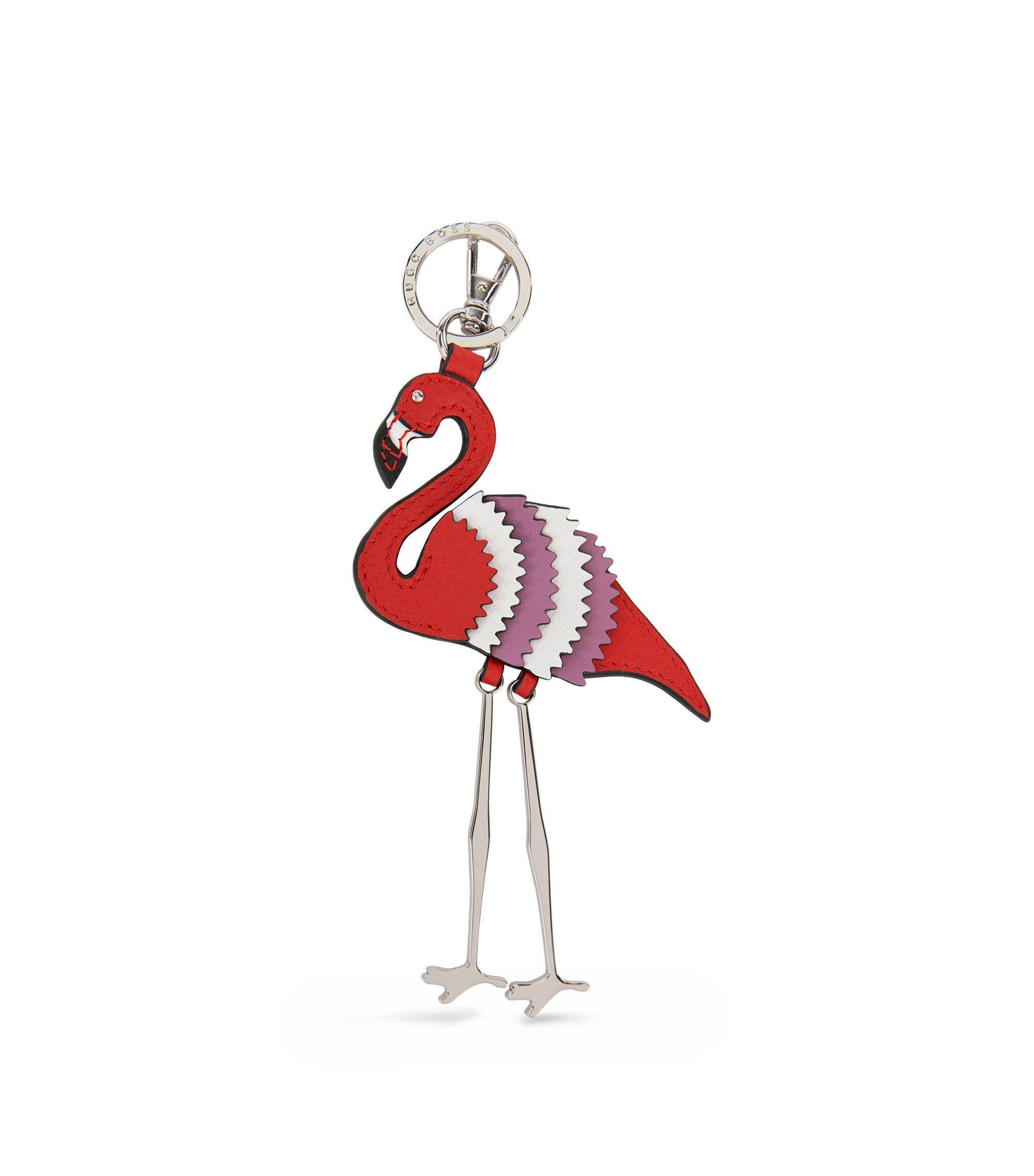 Schlüsselanhänger aus Leder im Flamingo-Design, Rot
