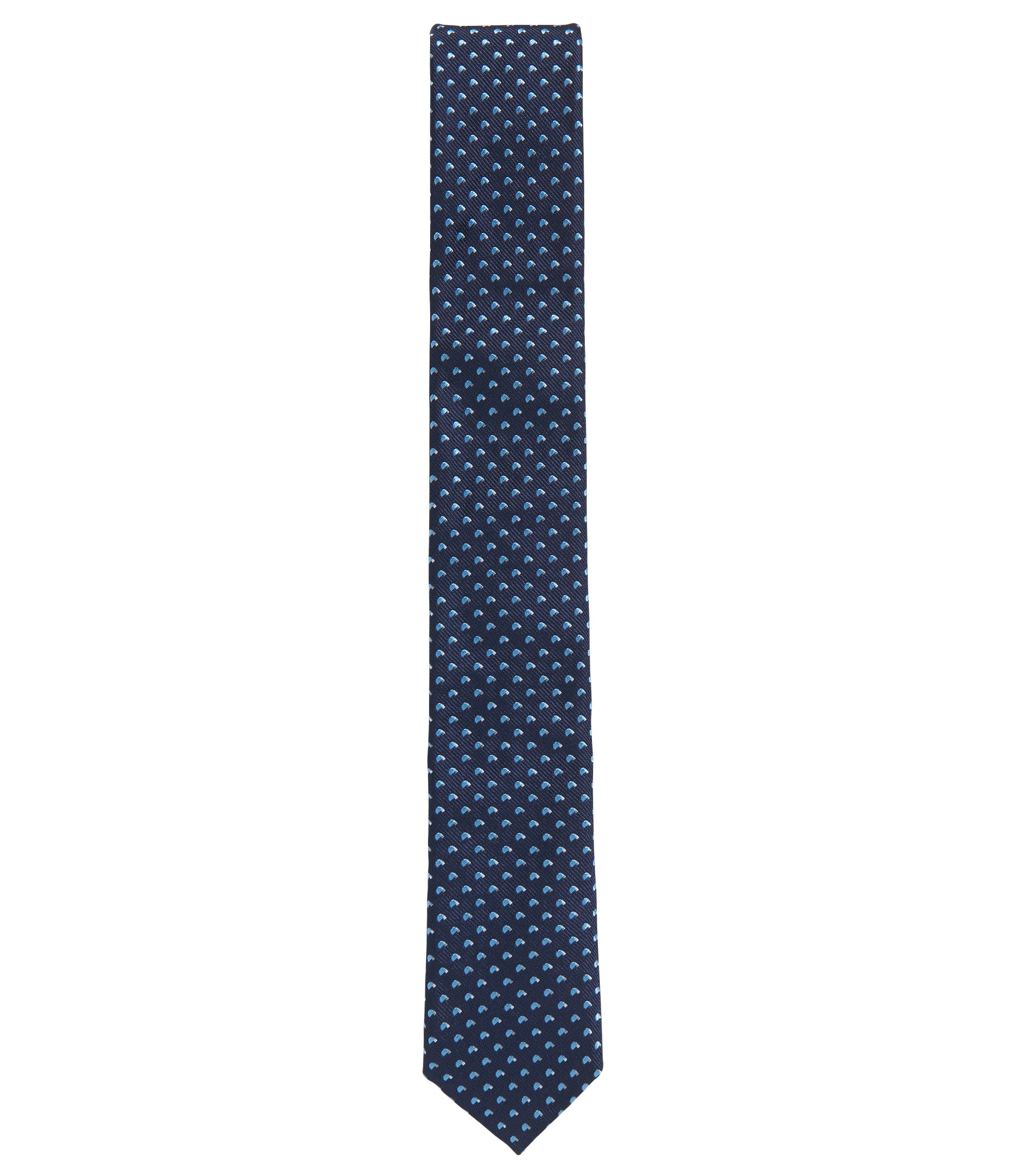 Jacquard-woven tie in yarn-dyed silk, Dark Blue