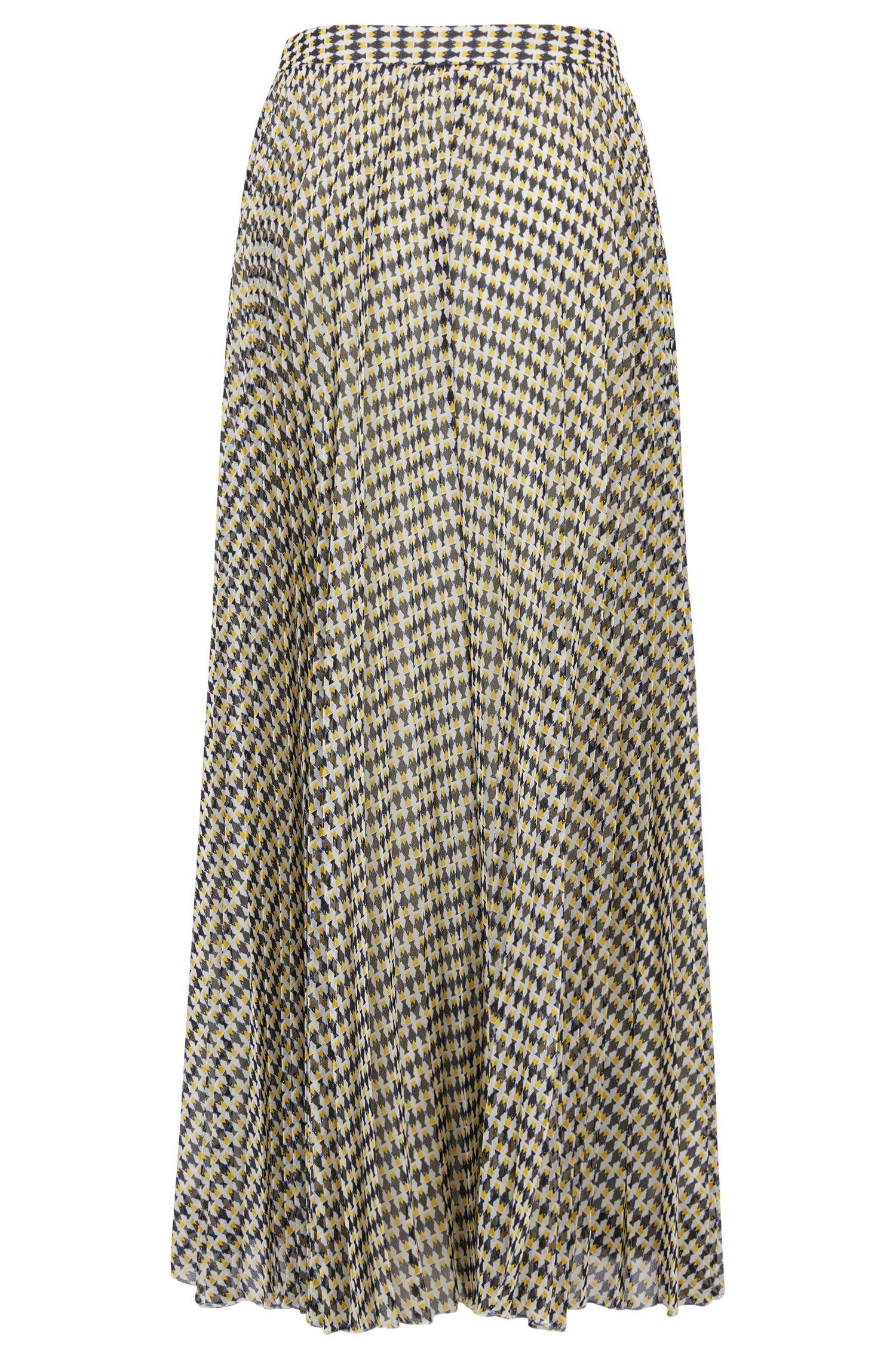 A-Linien-Rock aus plissiertem Chiffon mit Fisch-Print