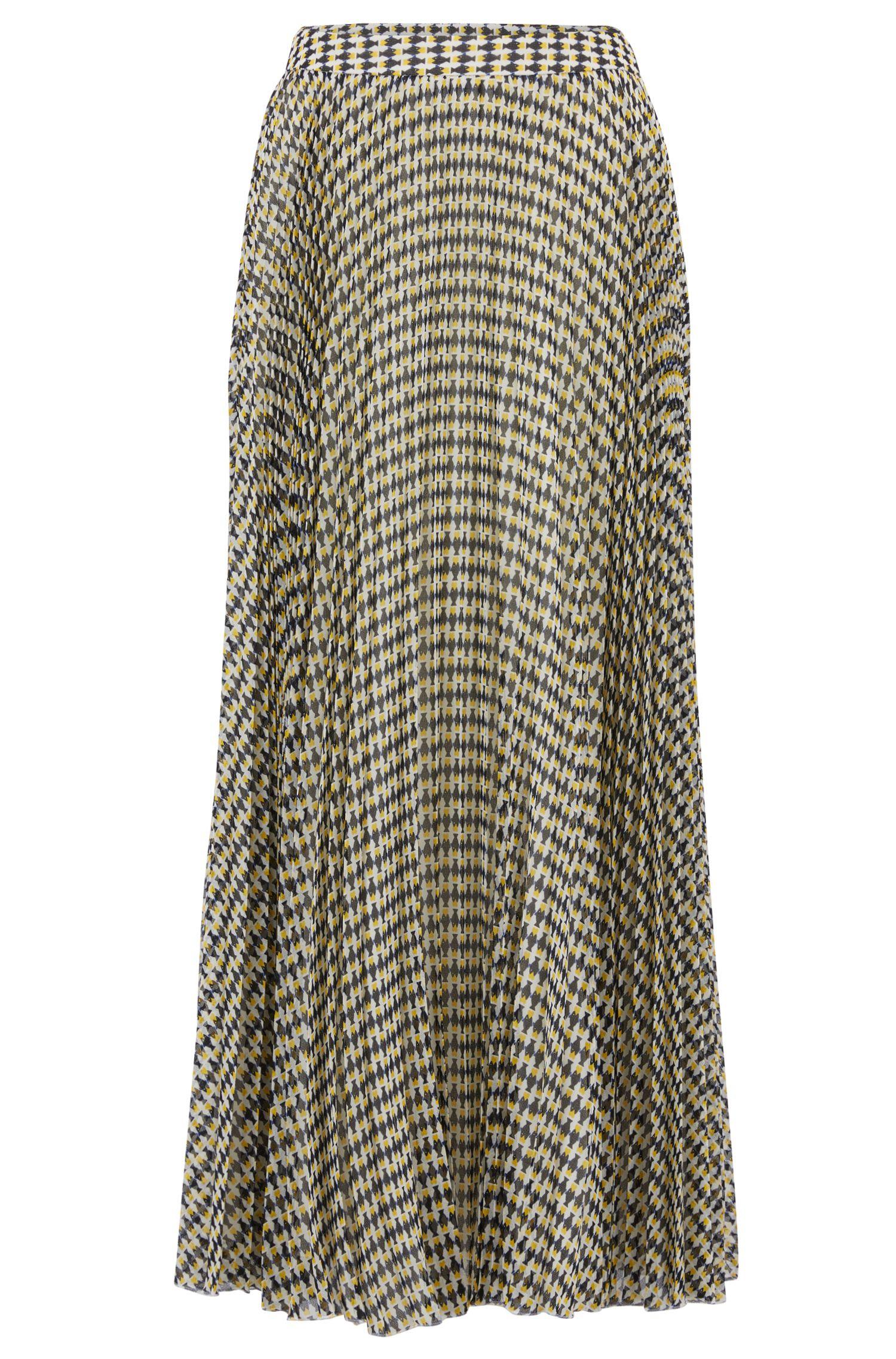 A-line skirt in fish-print chiffon plissé