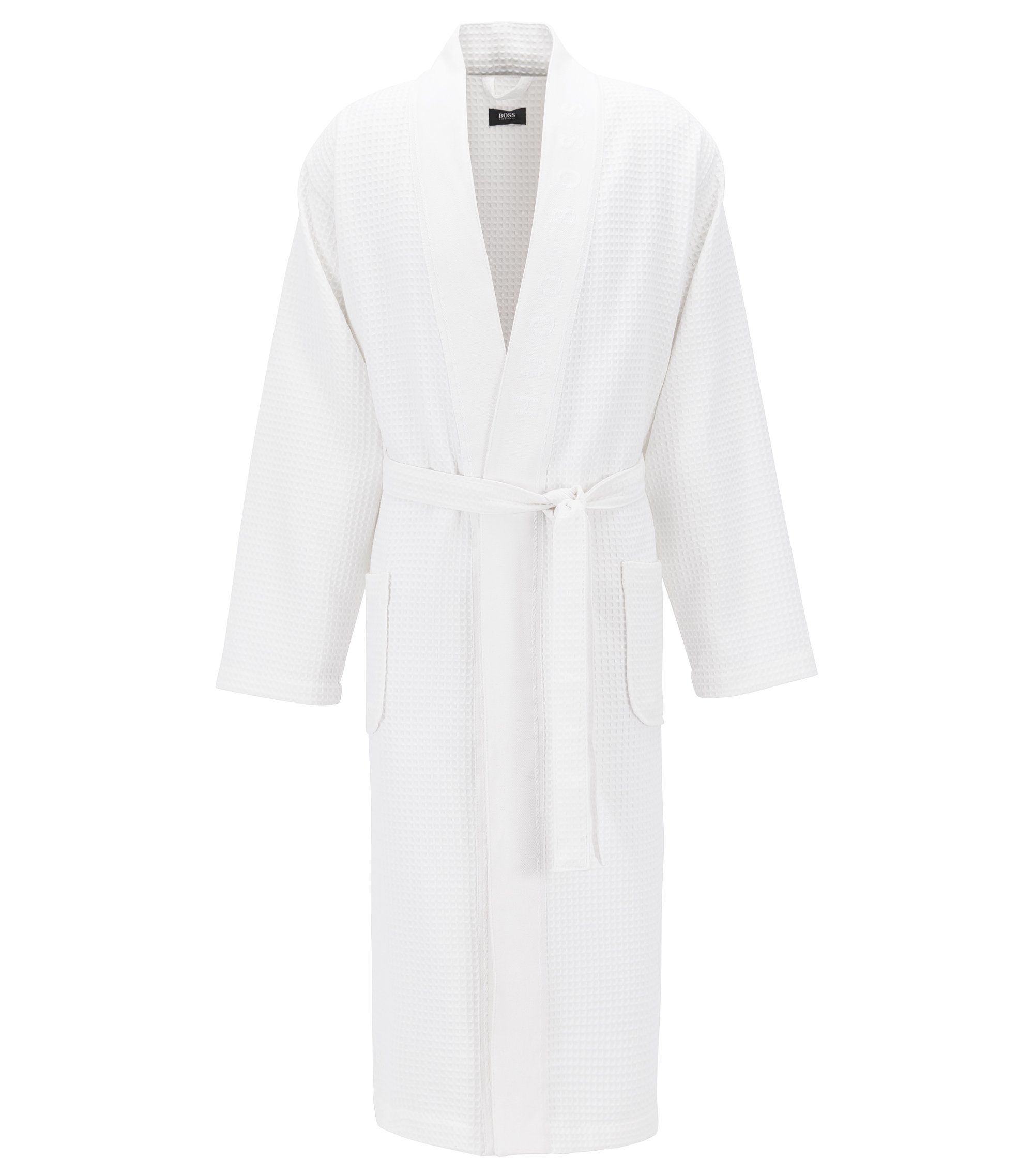 Dressing gown in cotton-blend waffle piqué, White