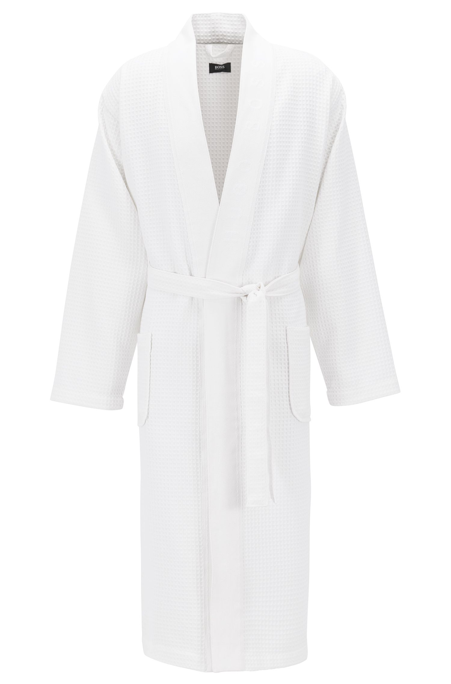 Dressing gown in cotton-blend waffle piqué