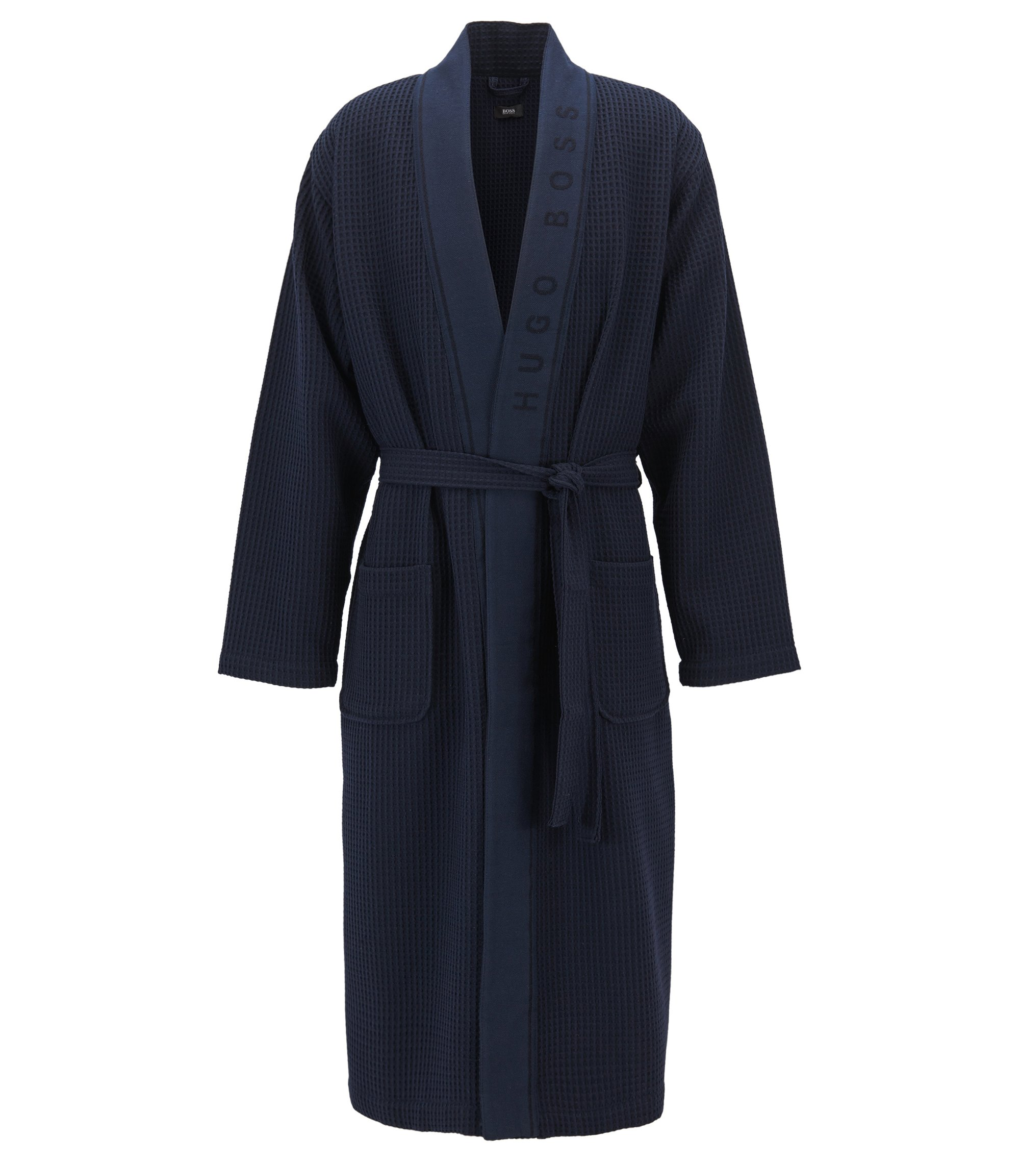 Dressing gown in cotton-blend waffle piqué, Dark Blue