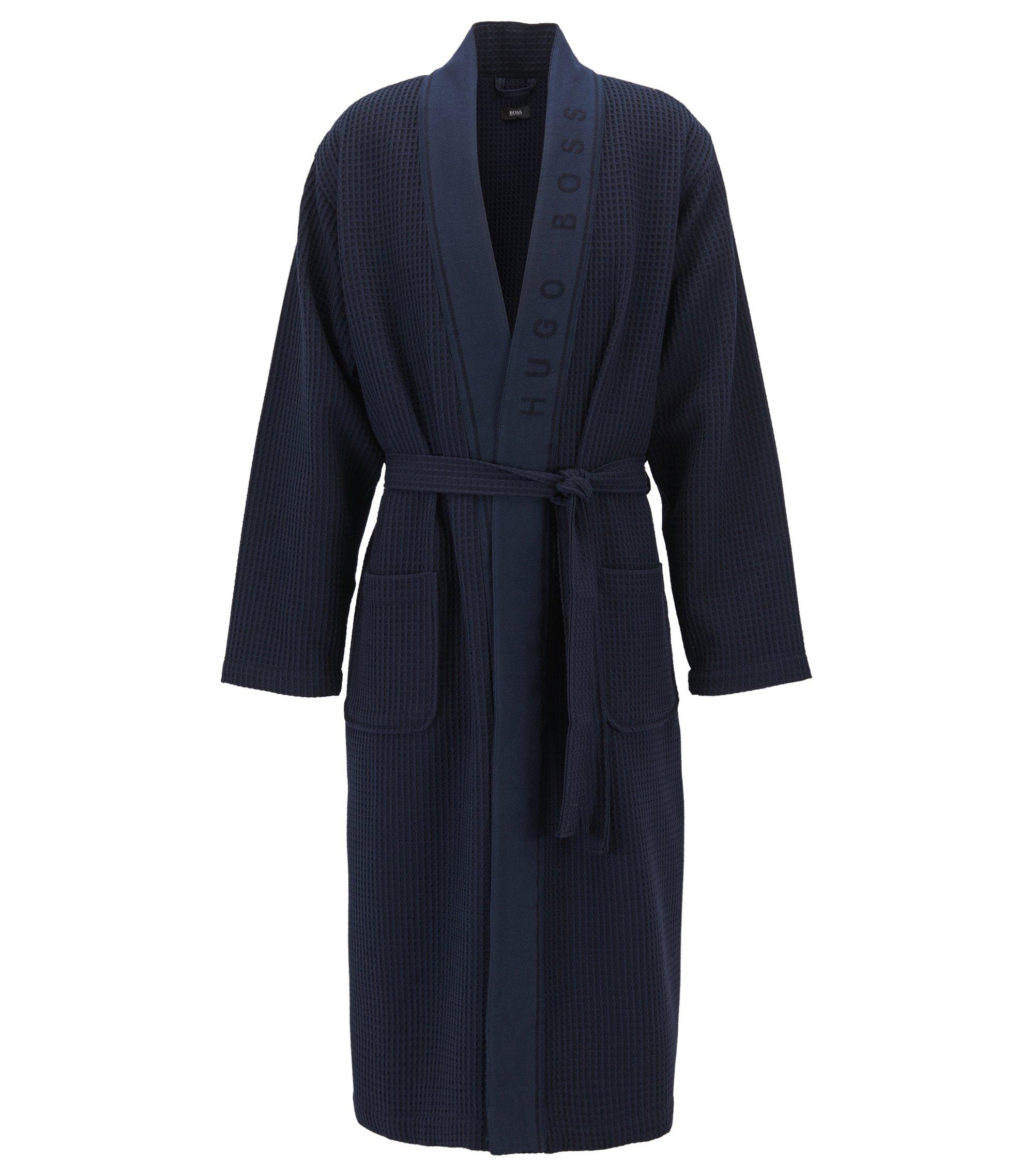 Robe de chambre en piqué gaufré de coton mélangé, Bleu foncé