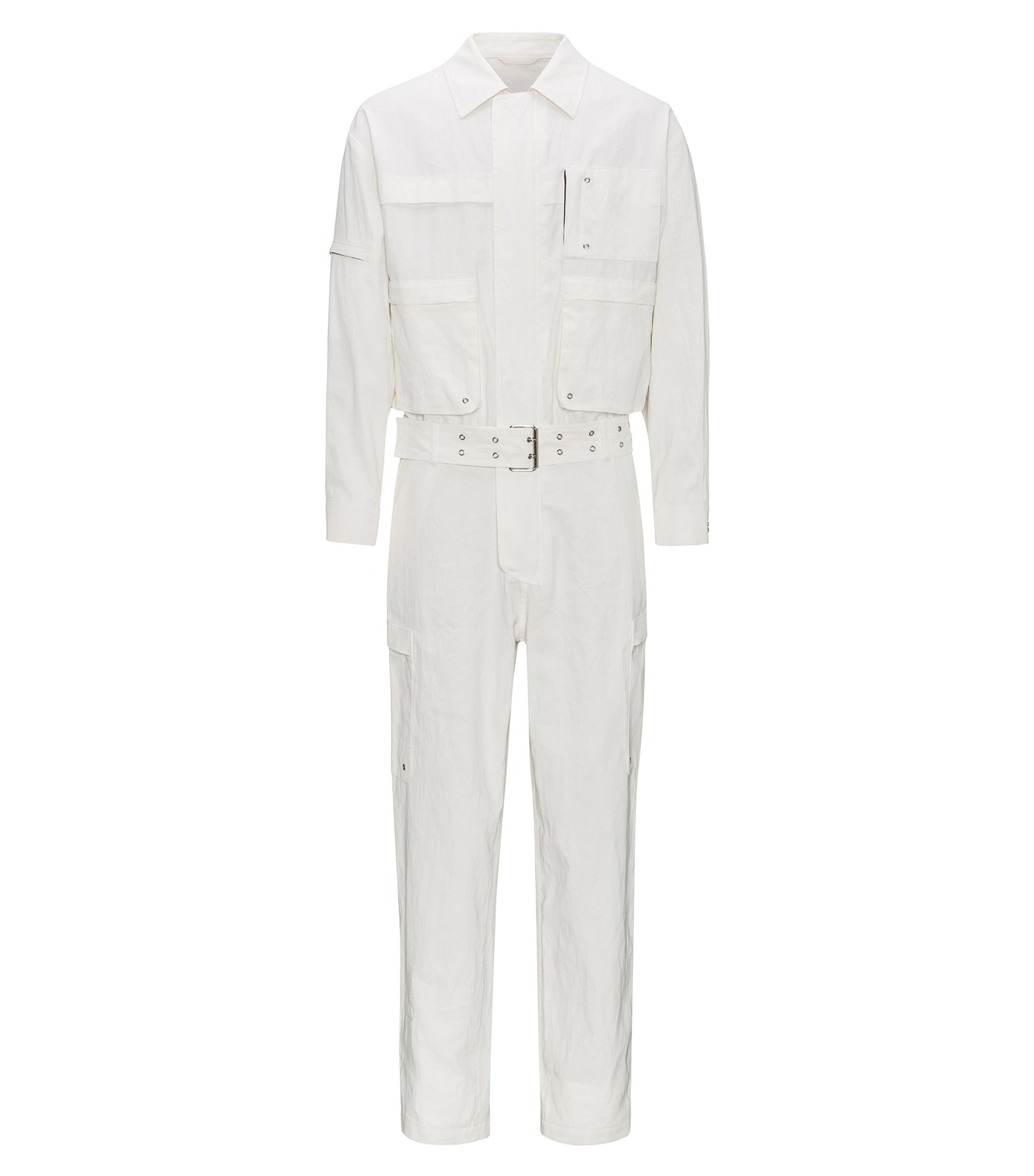 Belted jumpsuit in coated linen, Natural