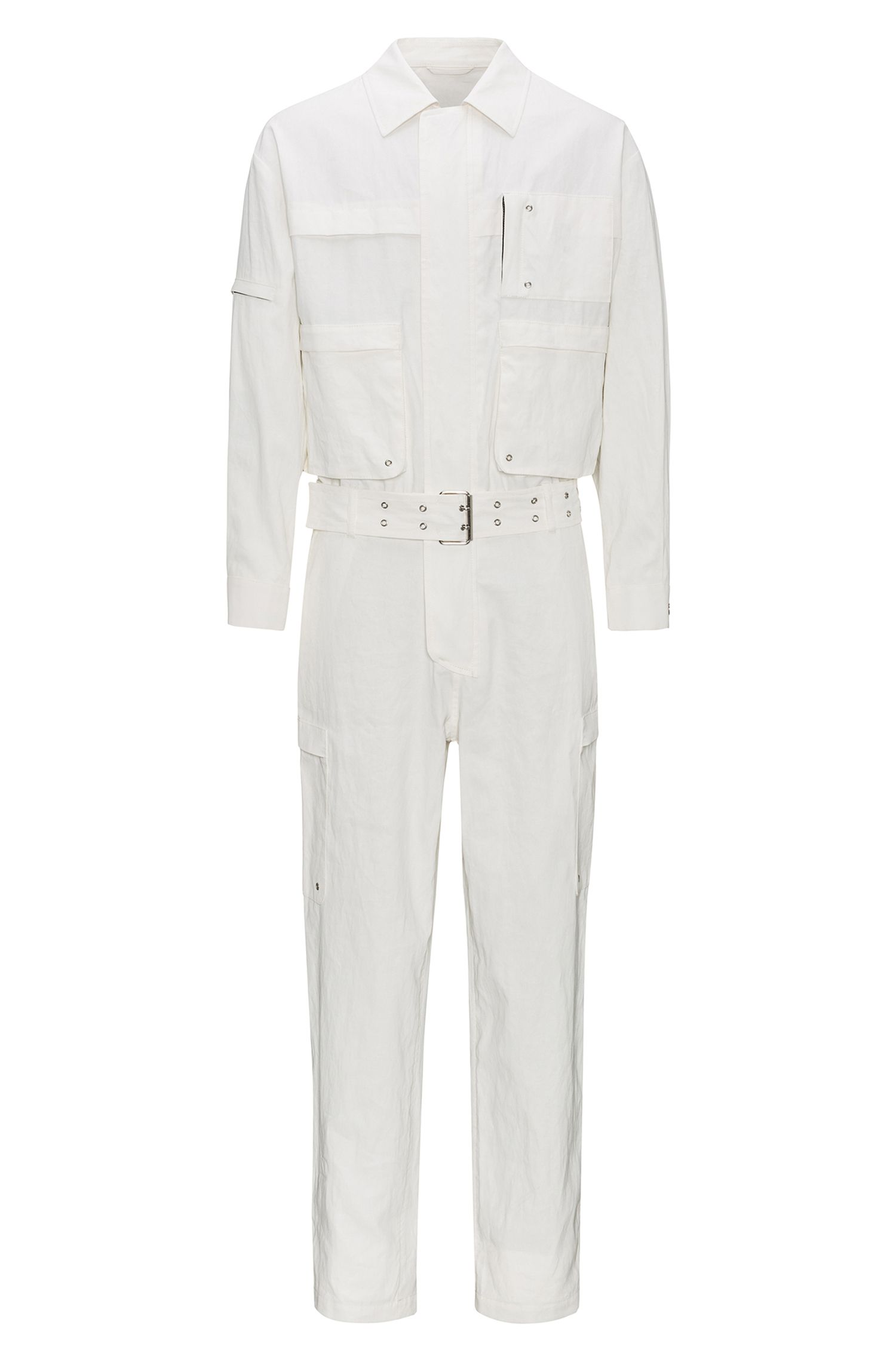 Belted jumpsuit in coated linen