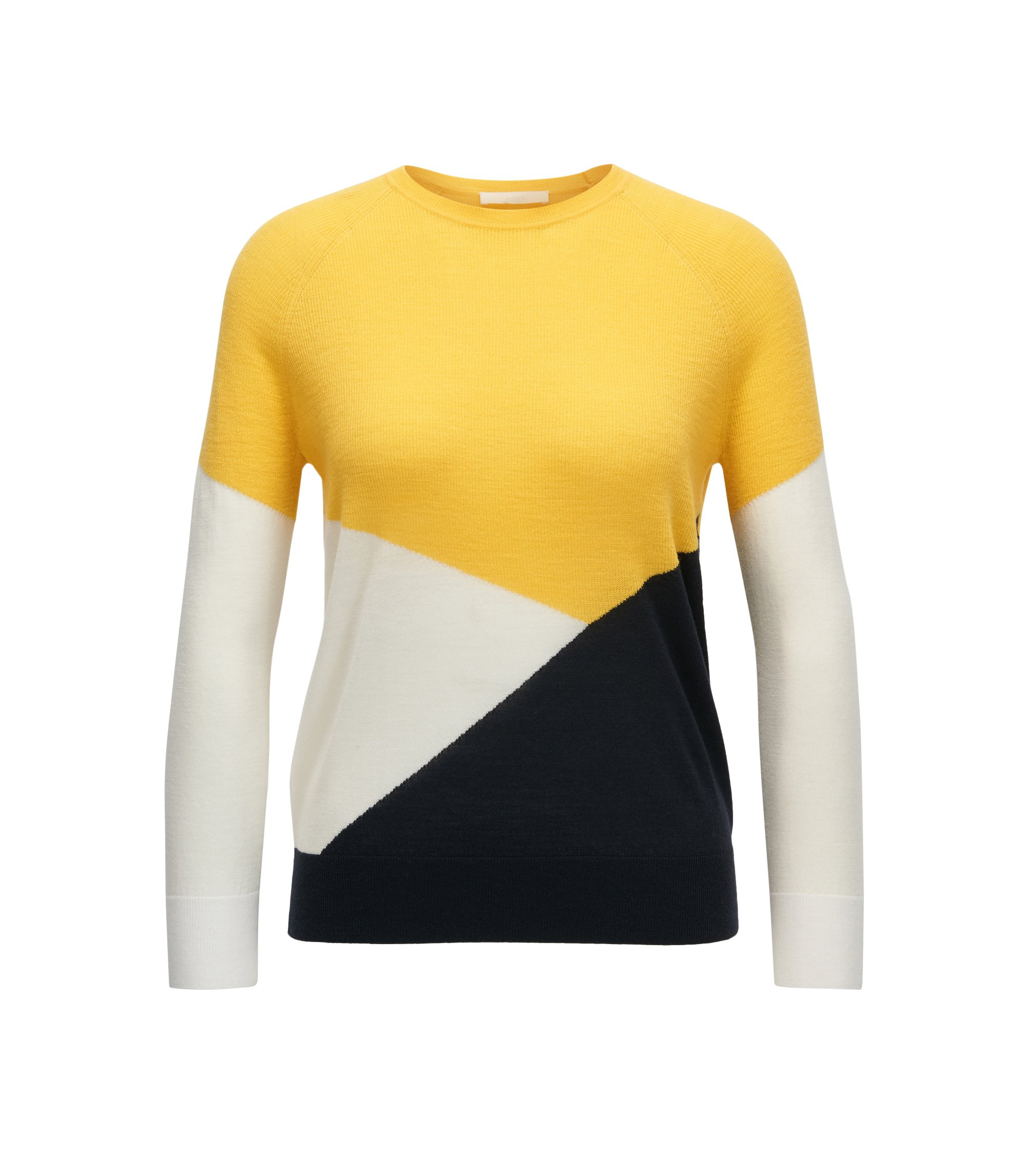 Colour-block sweater in mercerised Merino wool, Patterned