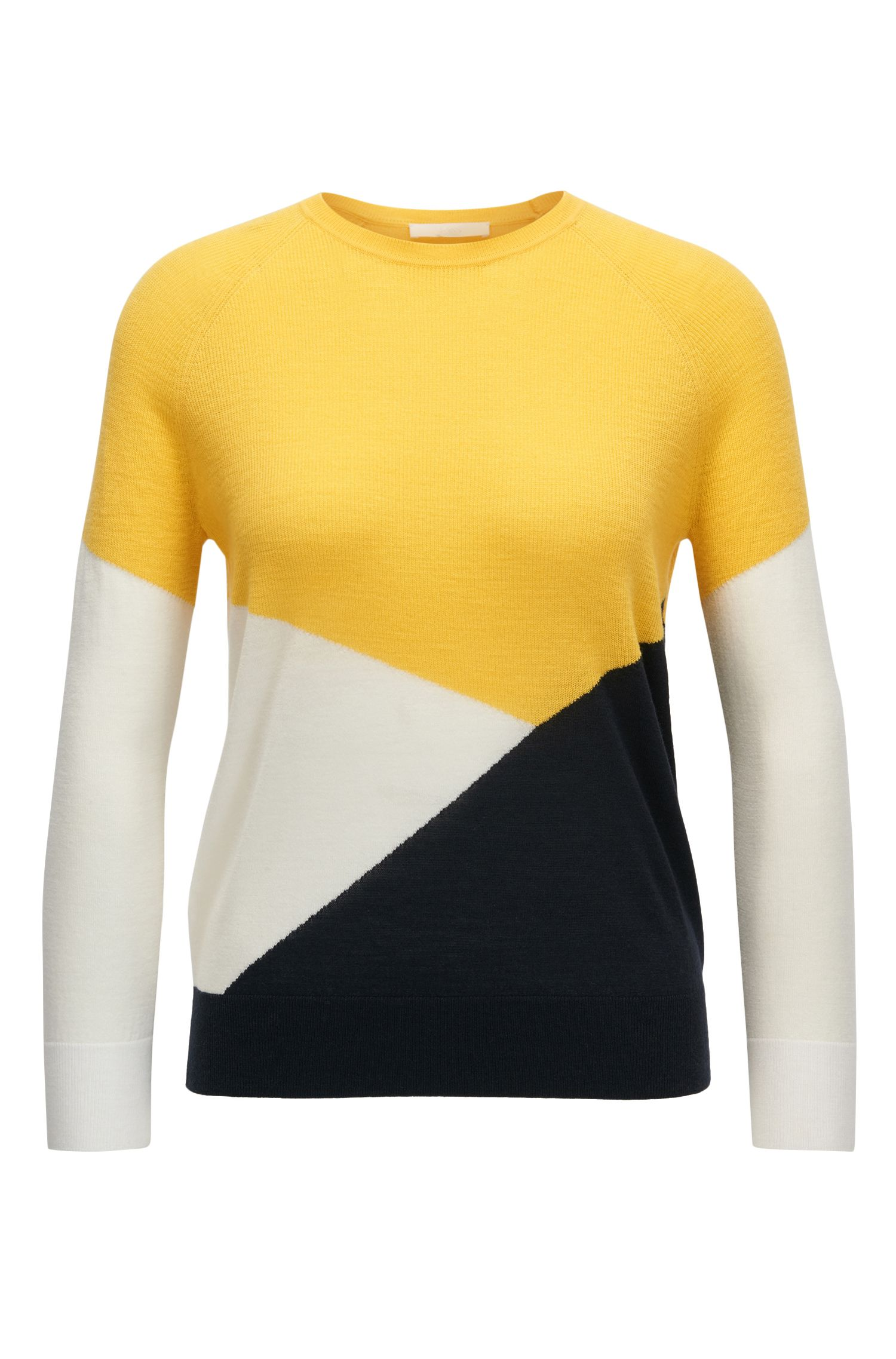 Colour-block sweater in mercerised Merino wool
