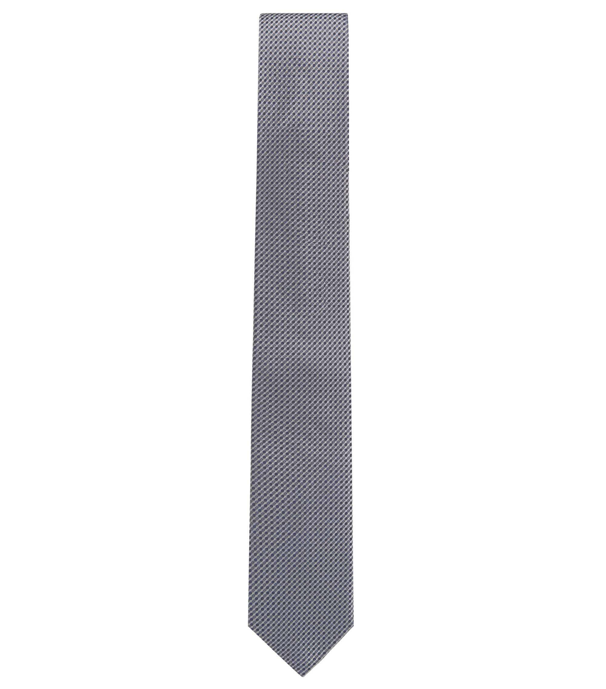 Micro-pattern tie in silk jacquard, Grey