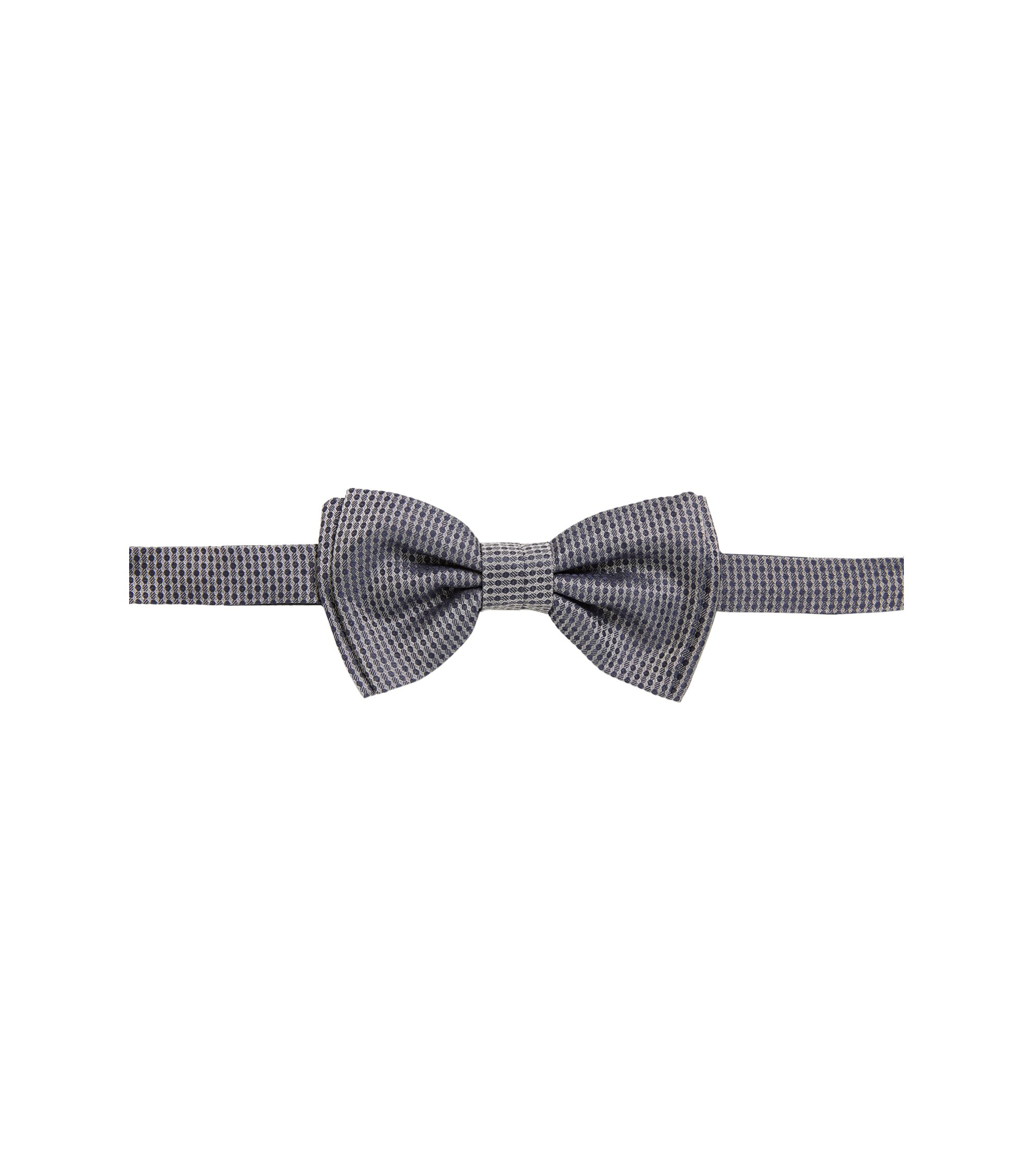 Patterned bow tie in silk jacquard, Grey
