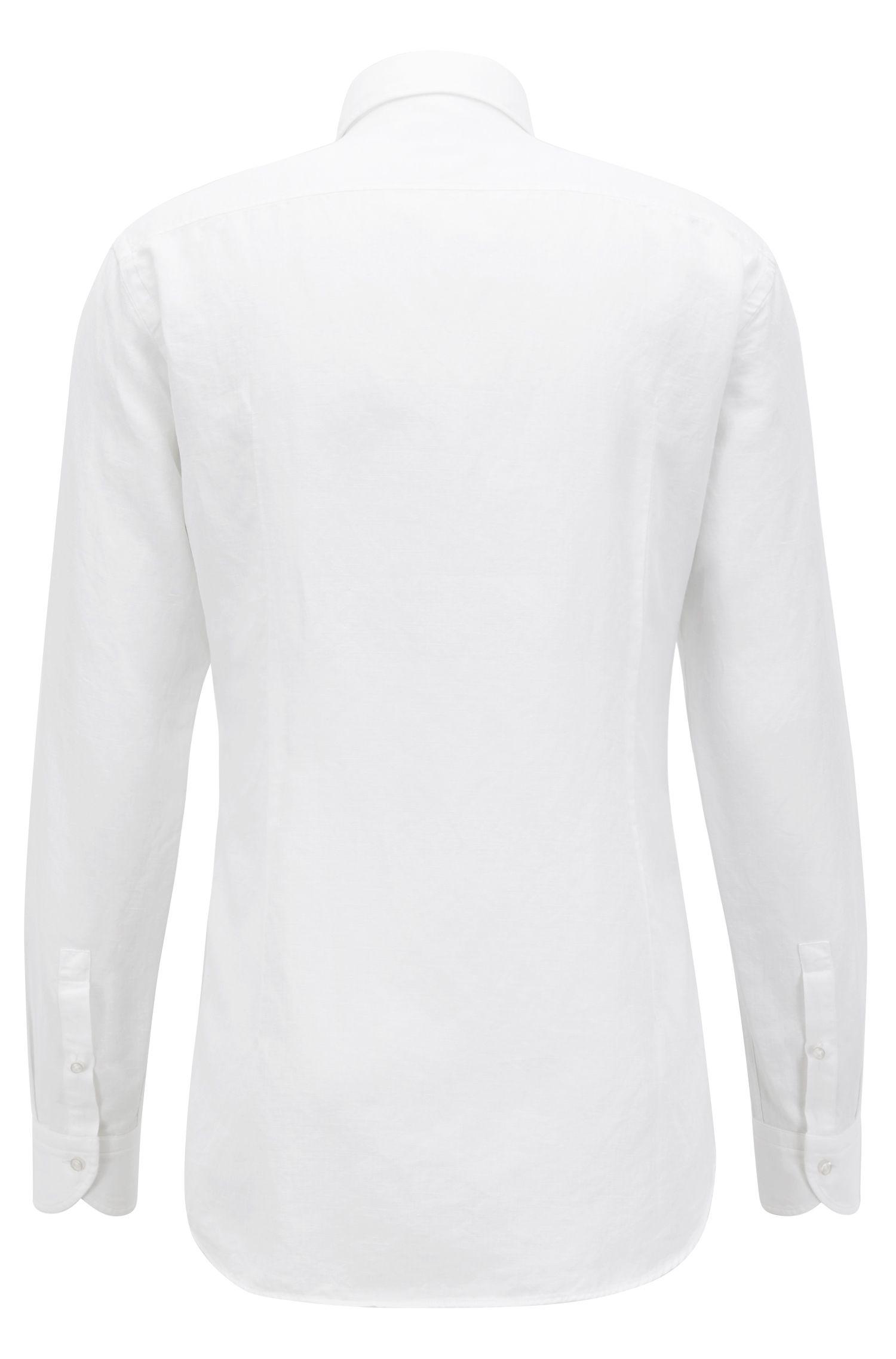 Chemise Slim Fit en coton lavé mélangé à rayures