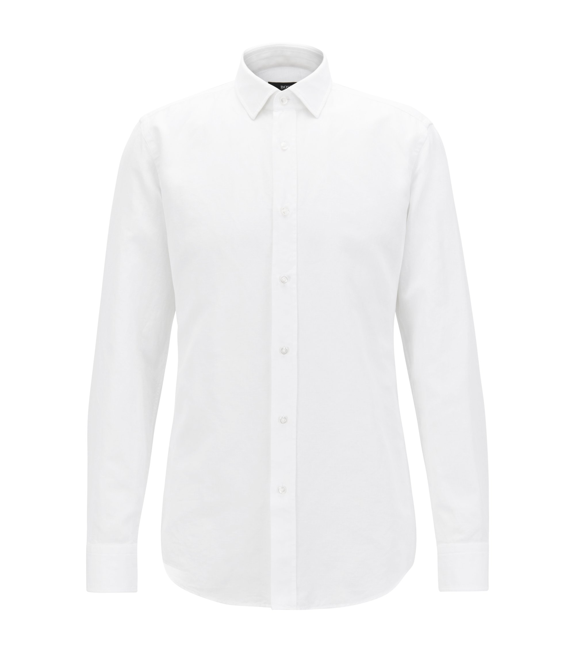 Slim-fit striped shirt in a washed cotton blend, White