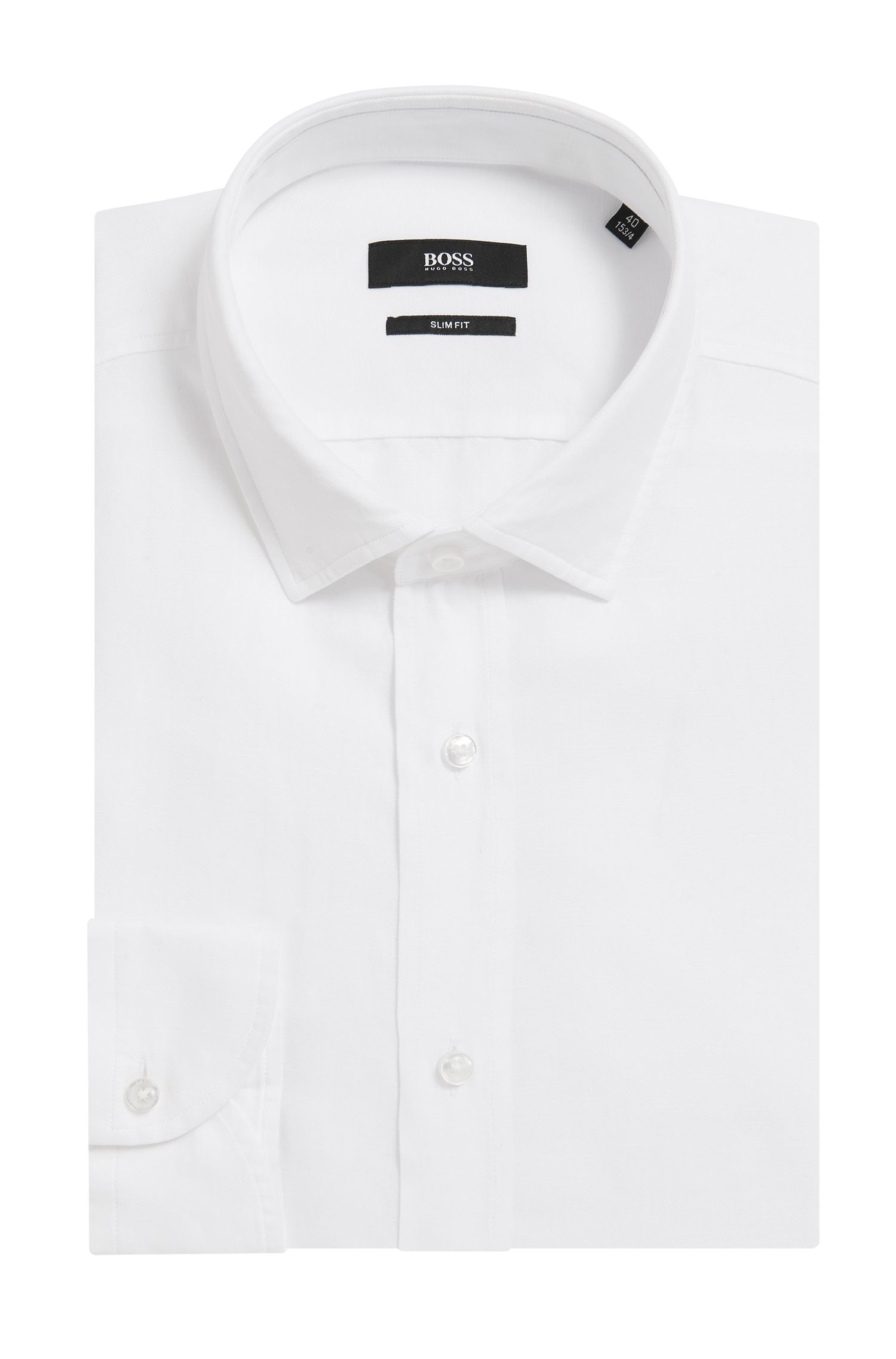 Slim-fit striped shirt in a washed cotton blend