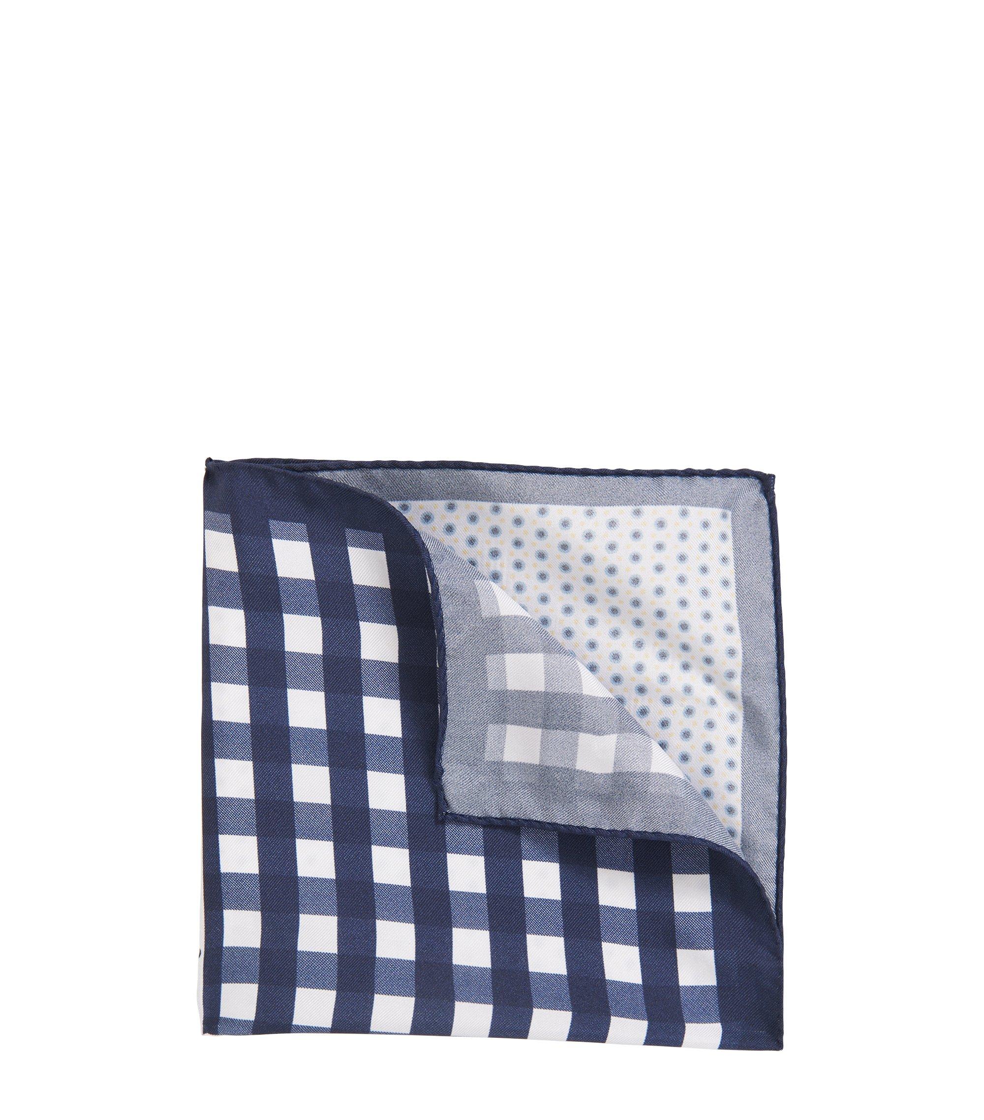 Pochette da taschino in pura seta con disegni, Blu scuro